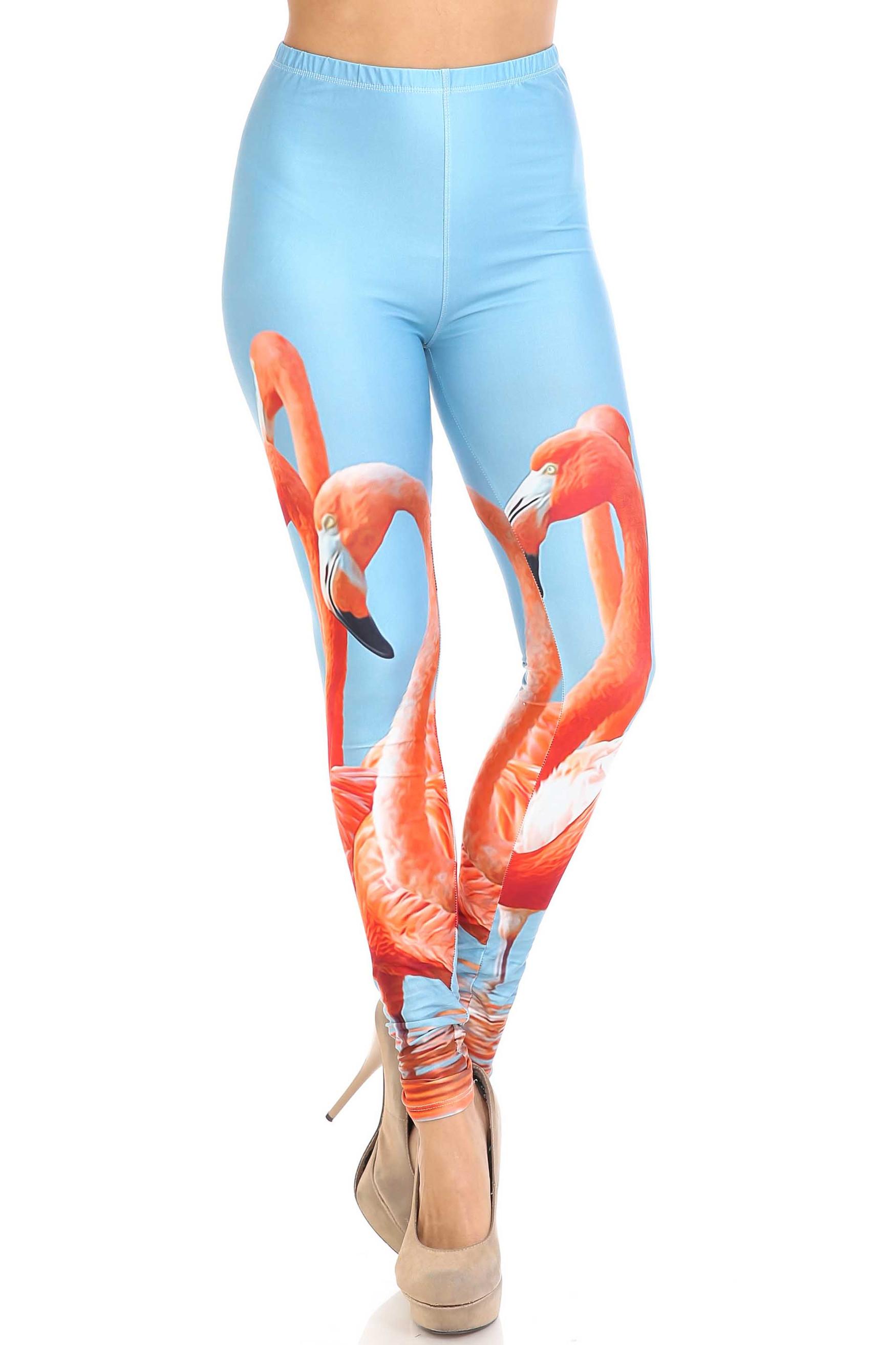 Creamy Soft Flamingo Plus Size Leggings - USA Fashion™