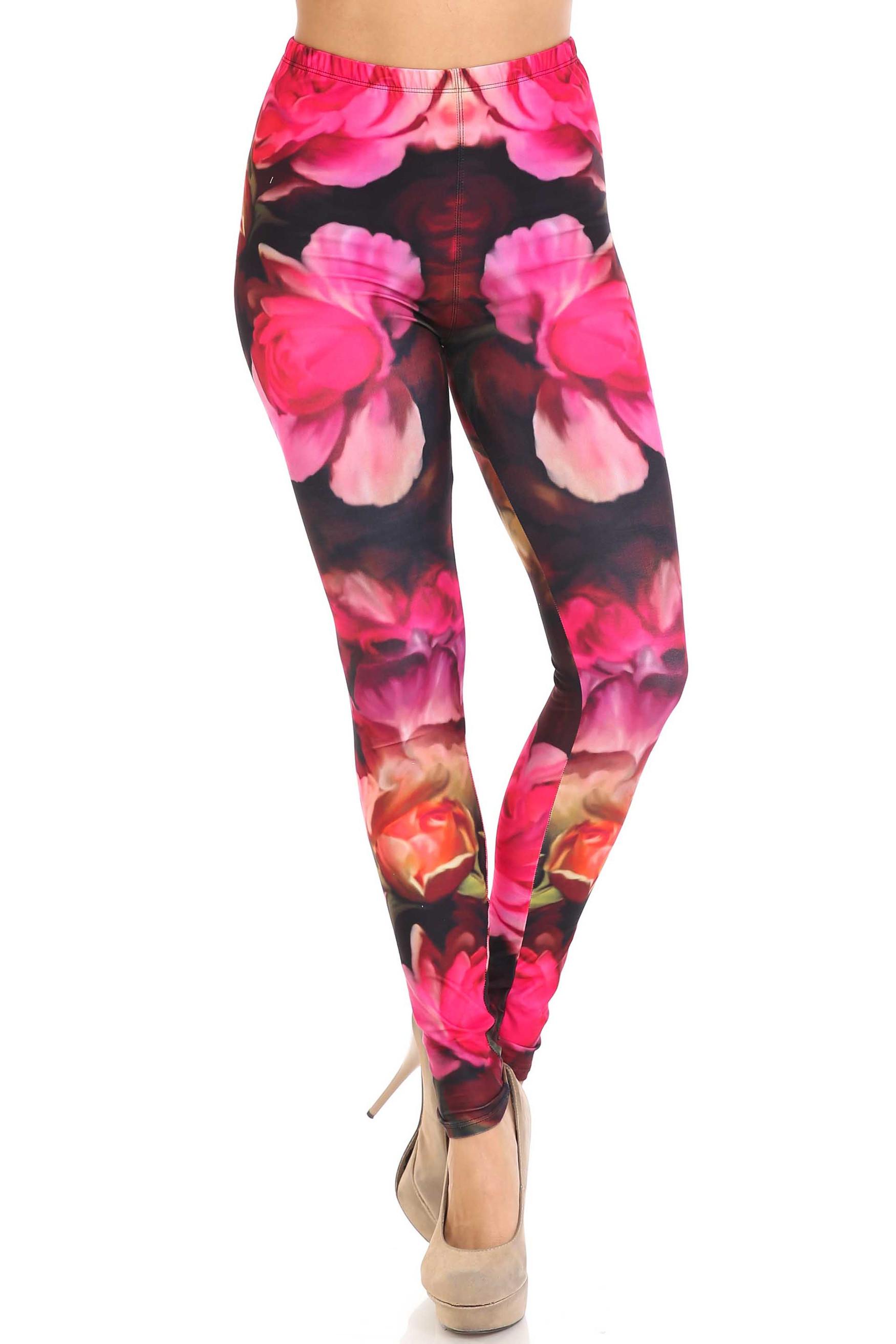 Creamy Soft Vintage Rose Plus Size Leggings - USA Fashion™