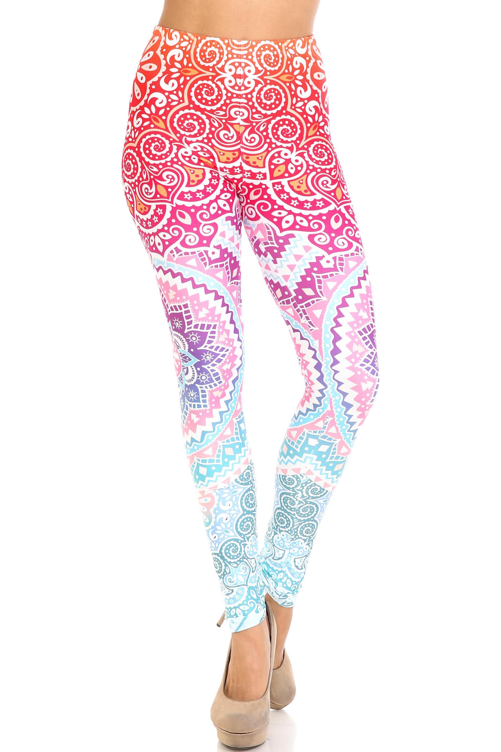 Creamy Soft Ombre Mandala Aztec Leggings - USA Fashion™