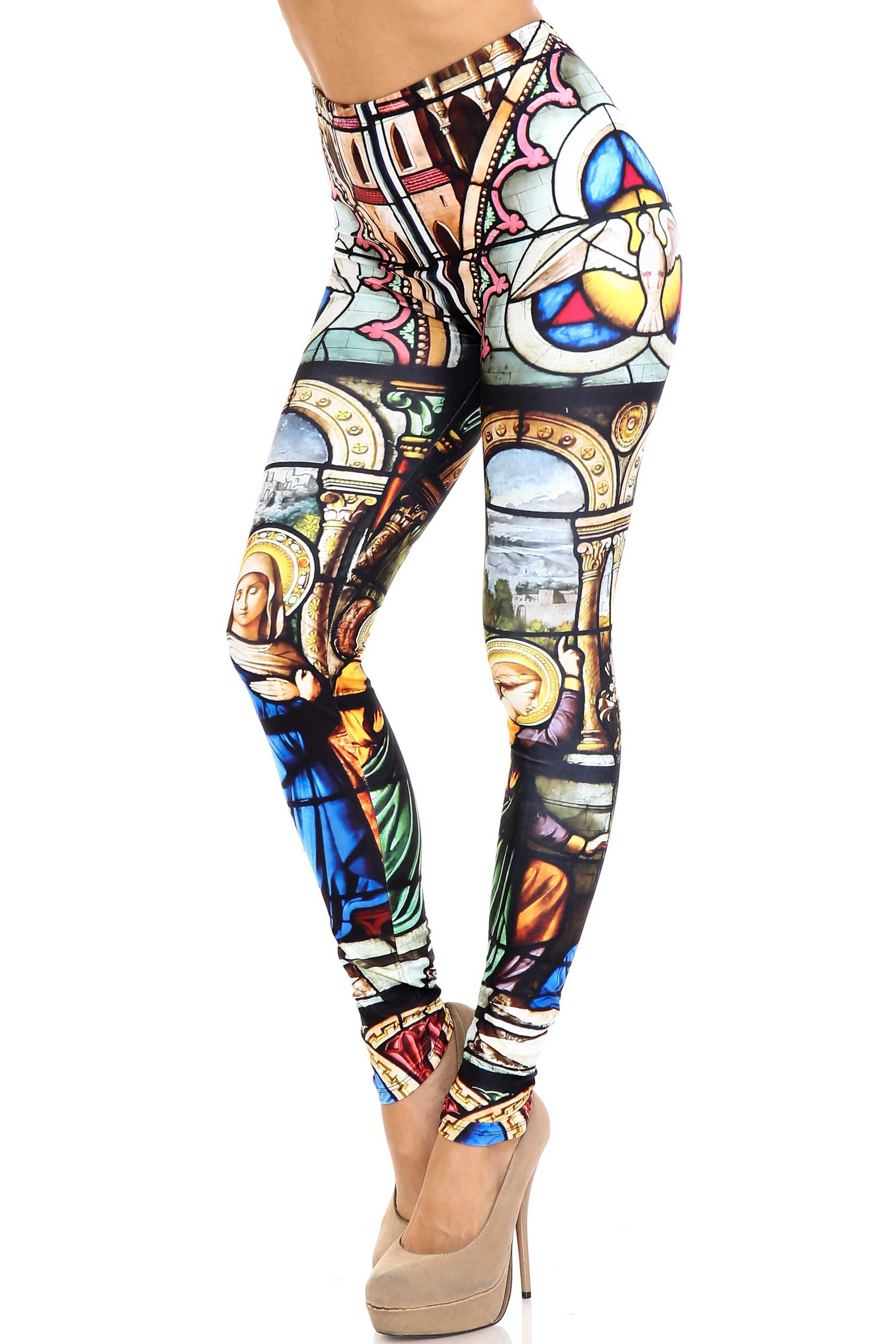 Creamy Soft Stained Glass Cathedral Extra Plus Size Leggings - 3X-5X - USA Fashion™