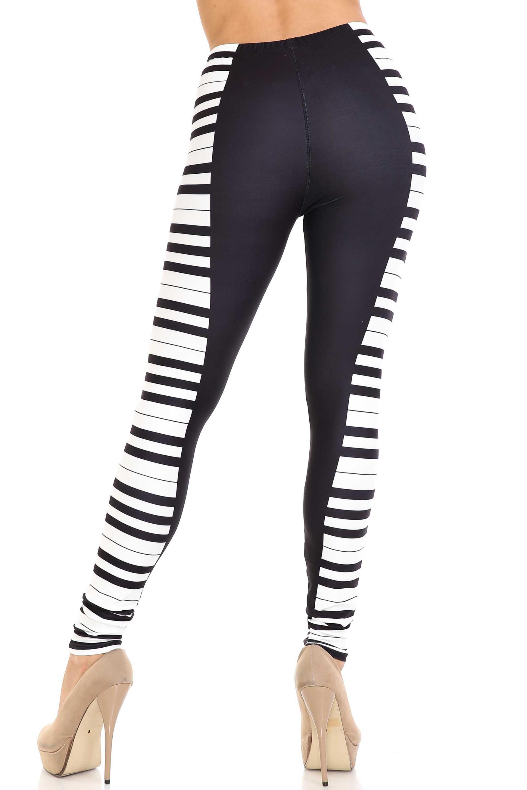 Creamy Soft Keys of the Piano Plus Size Leggings - USA Fashion™