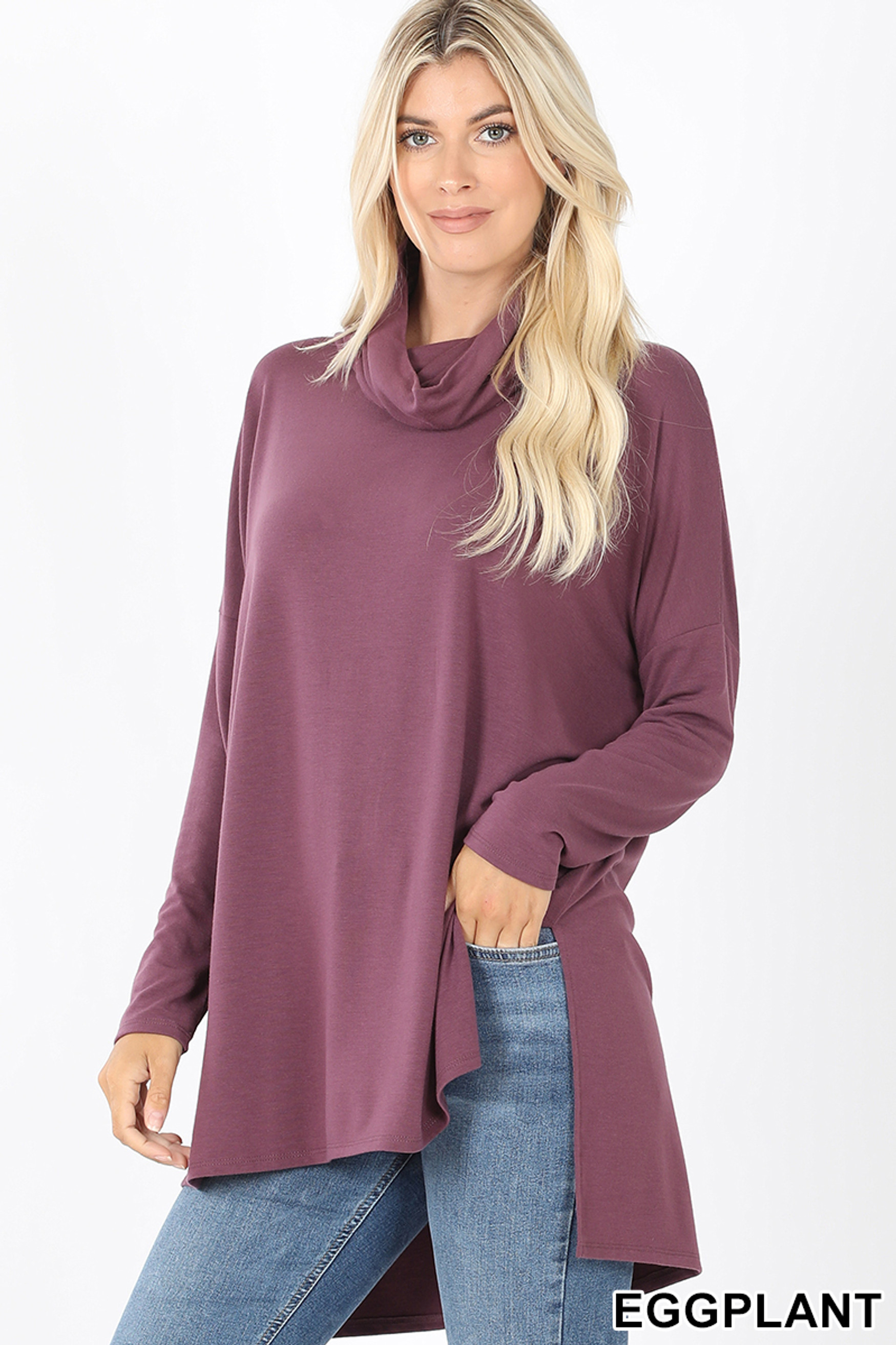Front image of Eggplant Cowl Neck Hi-Low Long Sleeve Top