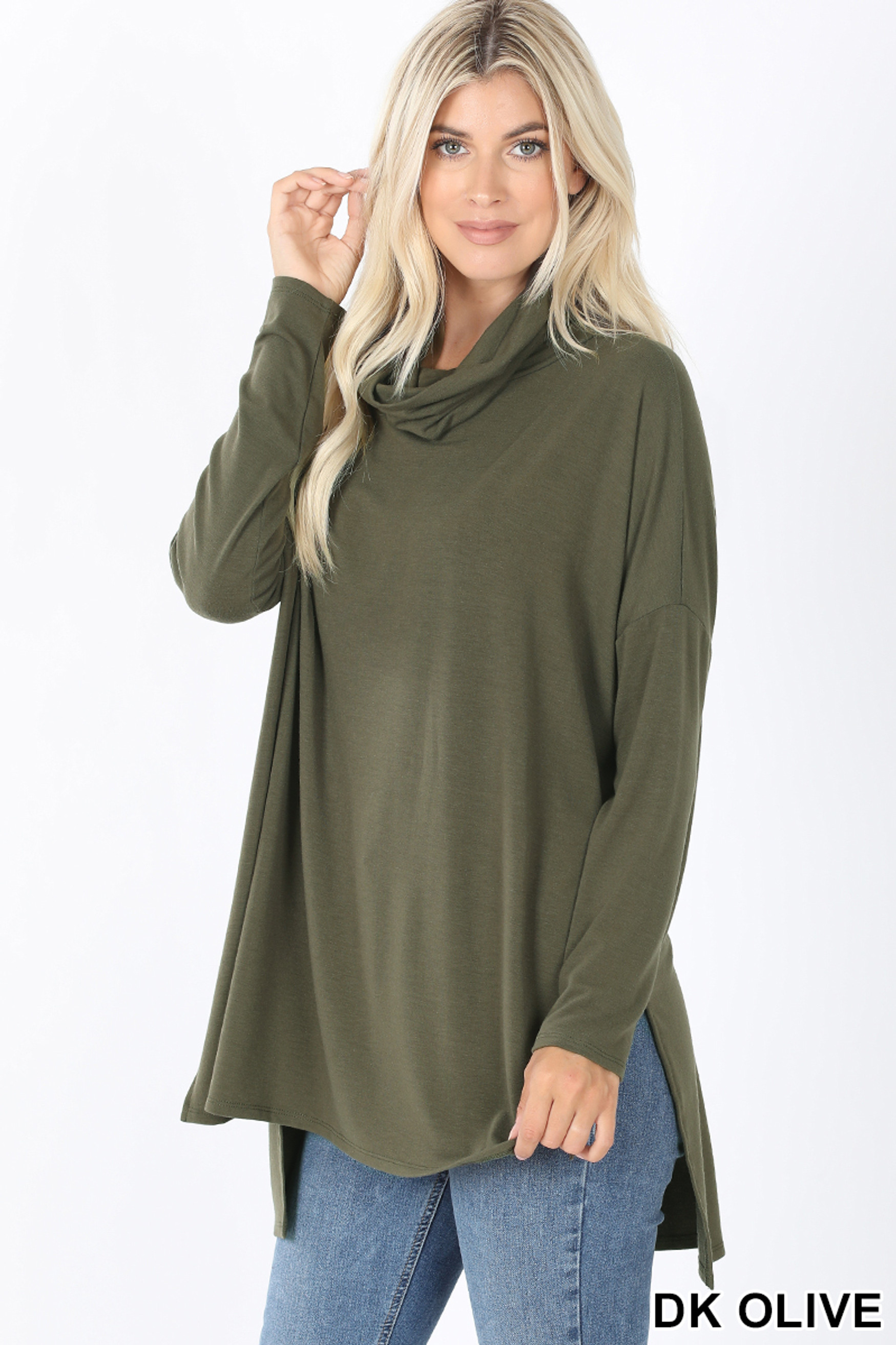 45 Degree Front image of Dark Olive Cowl Neck Hi-Low Long Sleeve Top