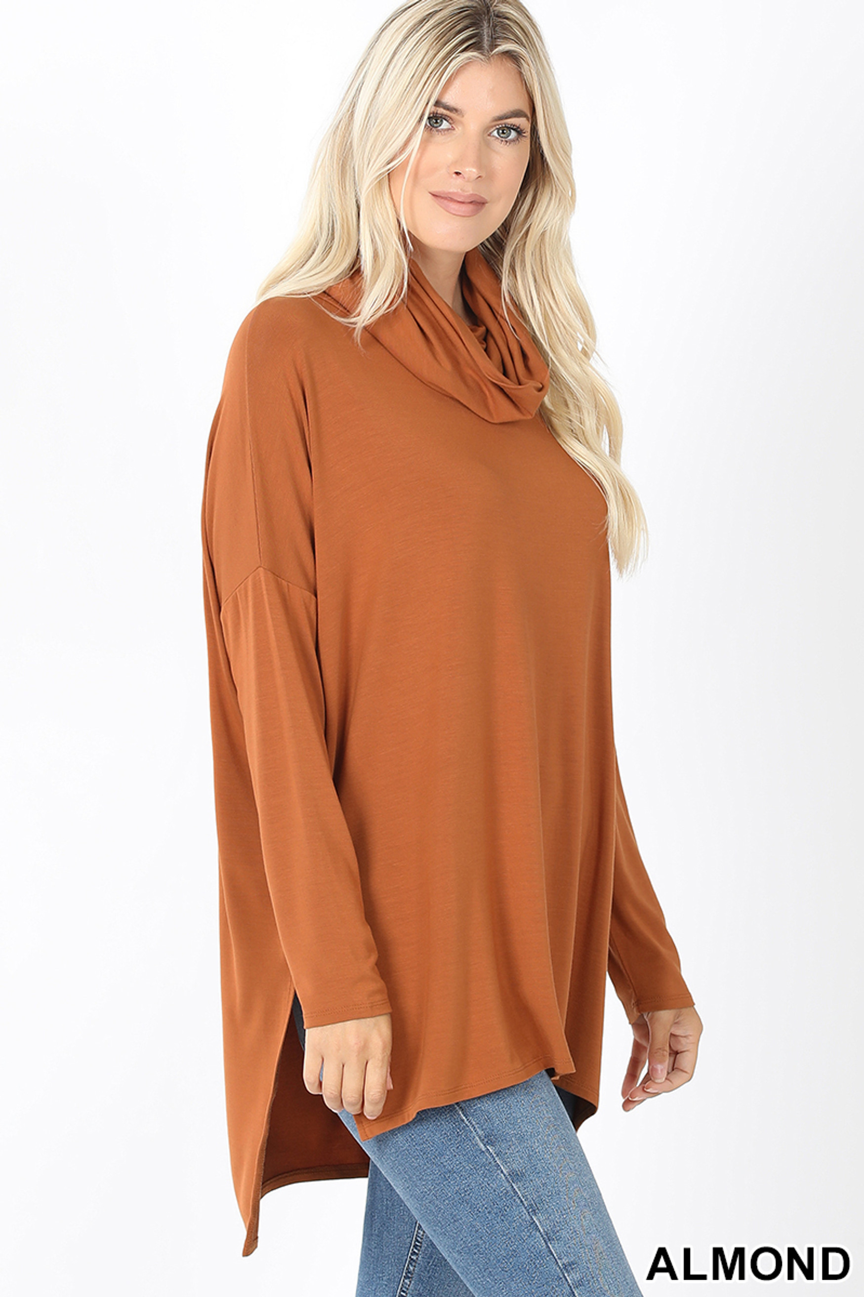Right side image of Almond Cowl Neck Hi-Low Long Sleeve Top