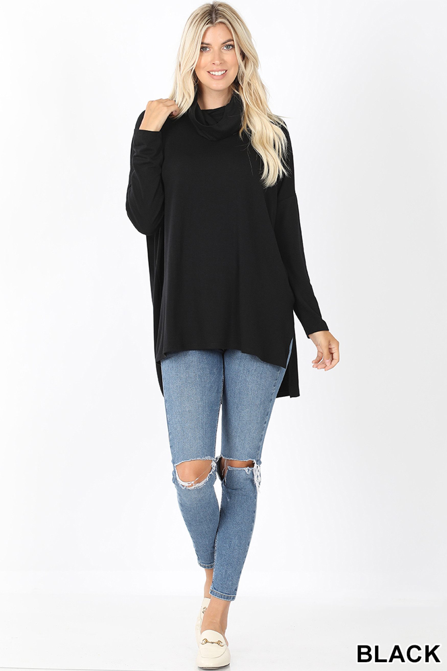 Full body front image of Black Cowl Neck Hi-Low Long Sleeve Top