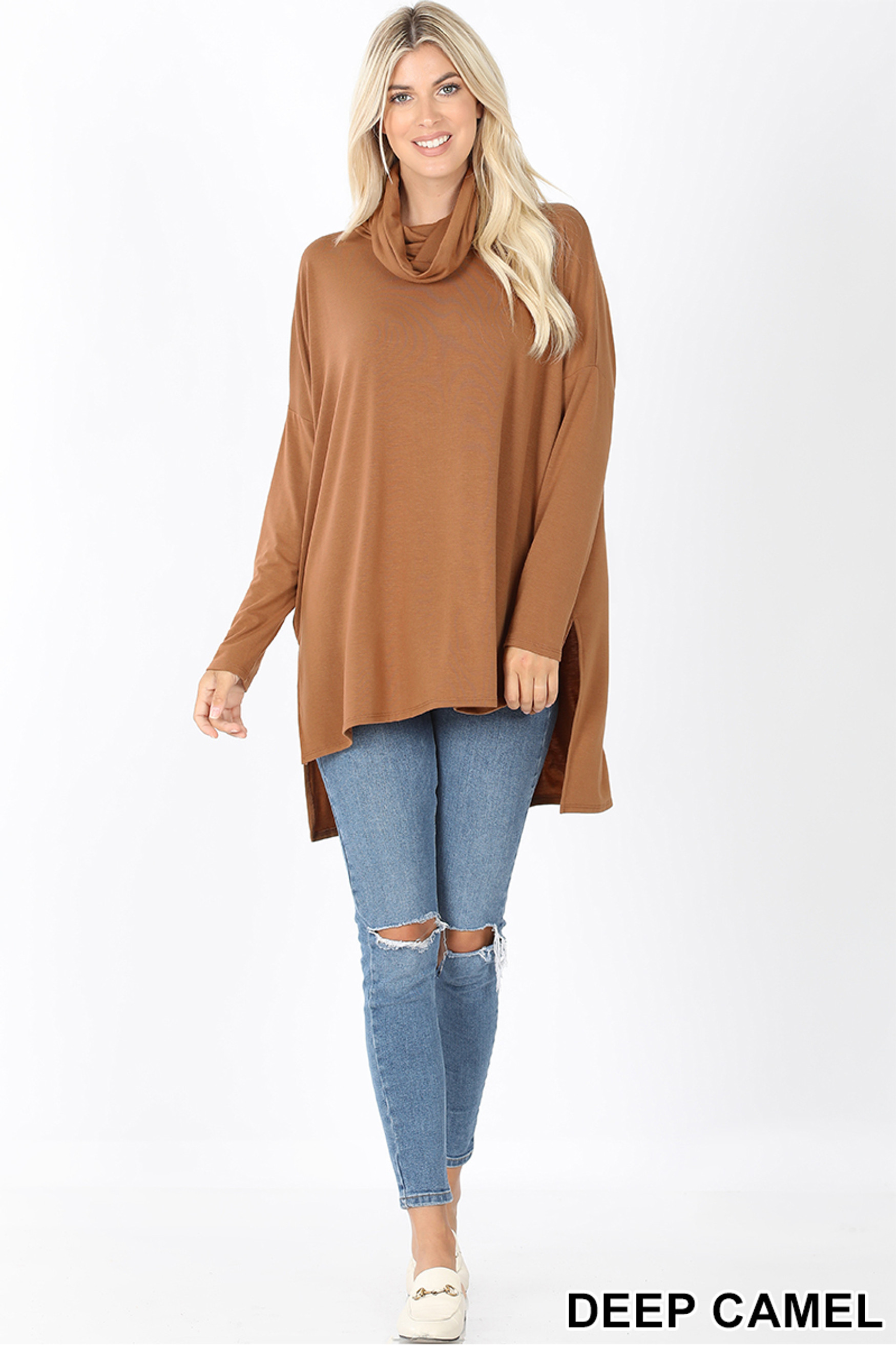 Full body front image of Deep Camel Cowl Neck Hi-Low Long Sleeve Top