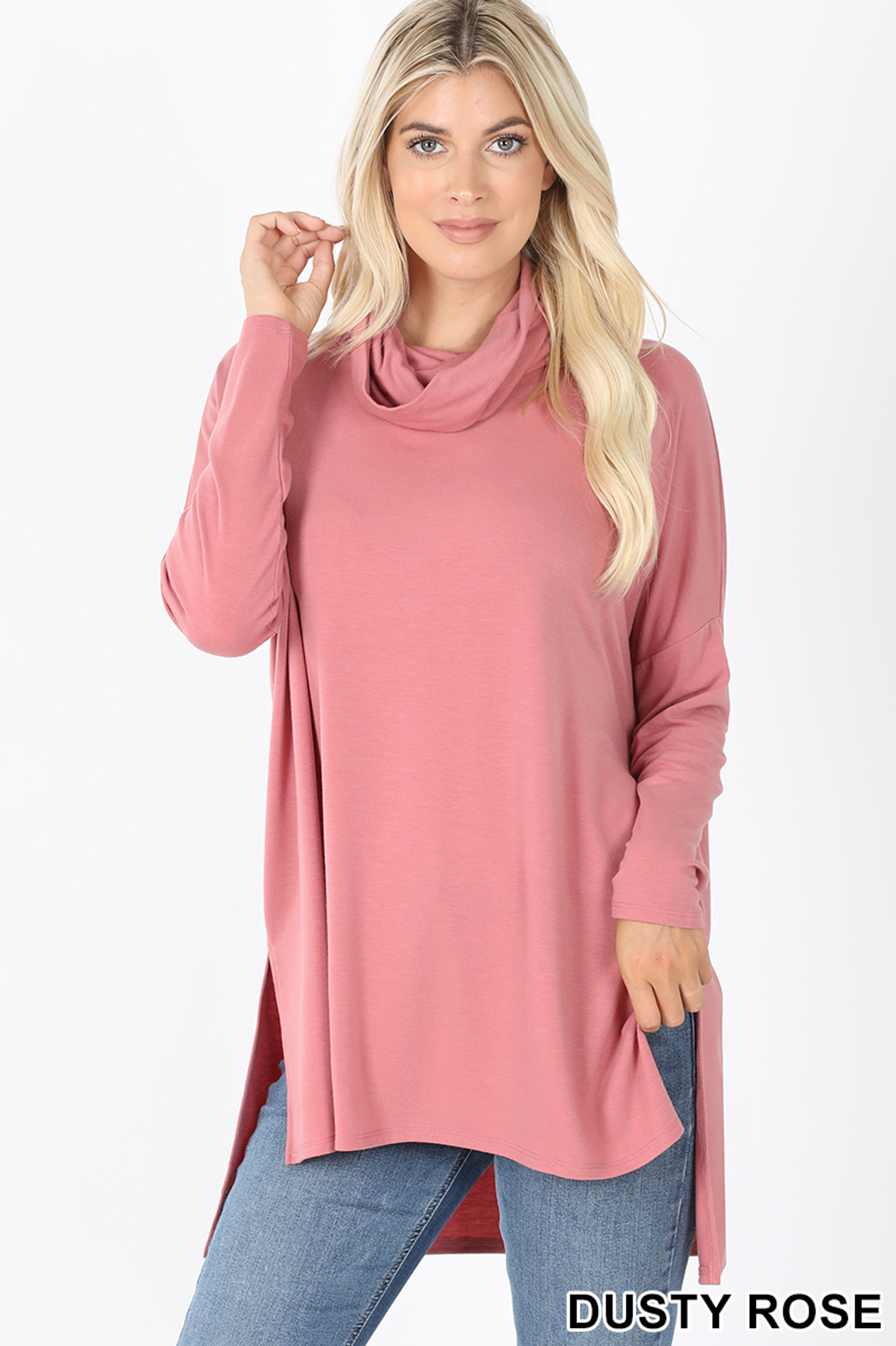 Front image of Dusty Rose Cowl Neck Hi-Low Long Sleeve Plus Size Top