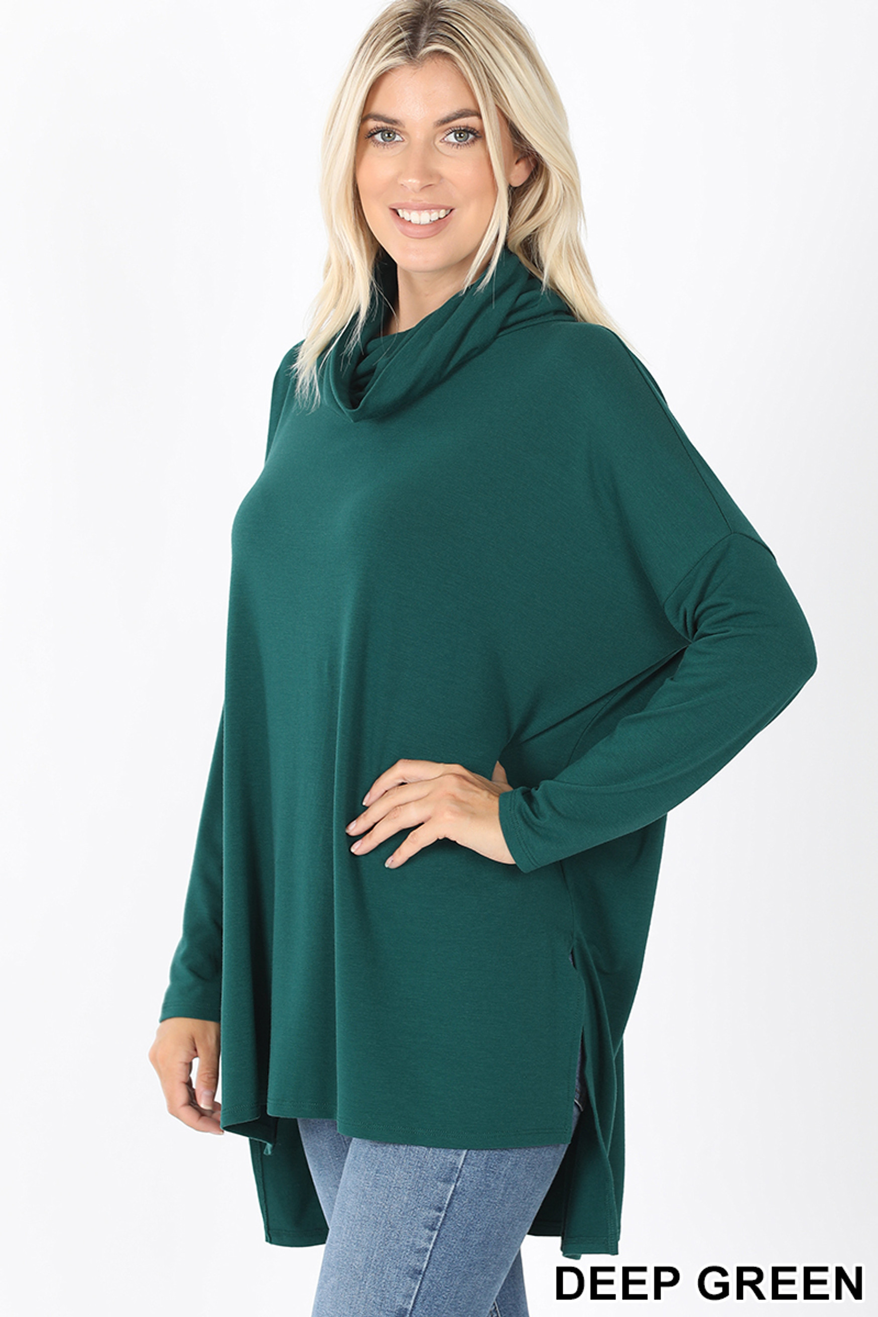 45 Degree Front image of Deep Green Cowl Neck Hi-Low Long Sleeve Plus Size Top
