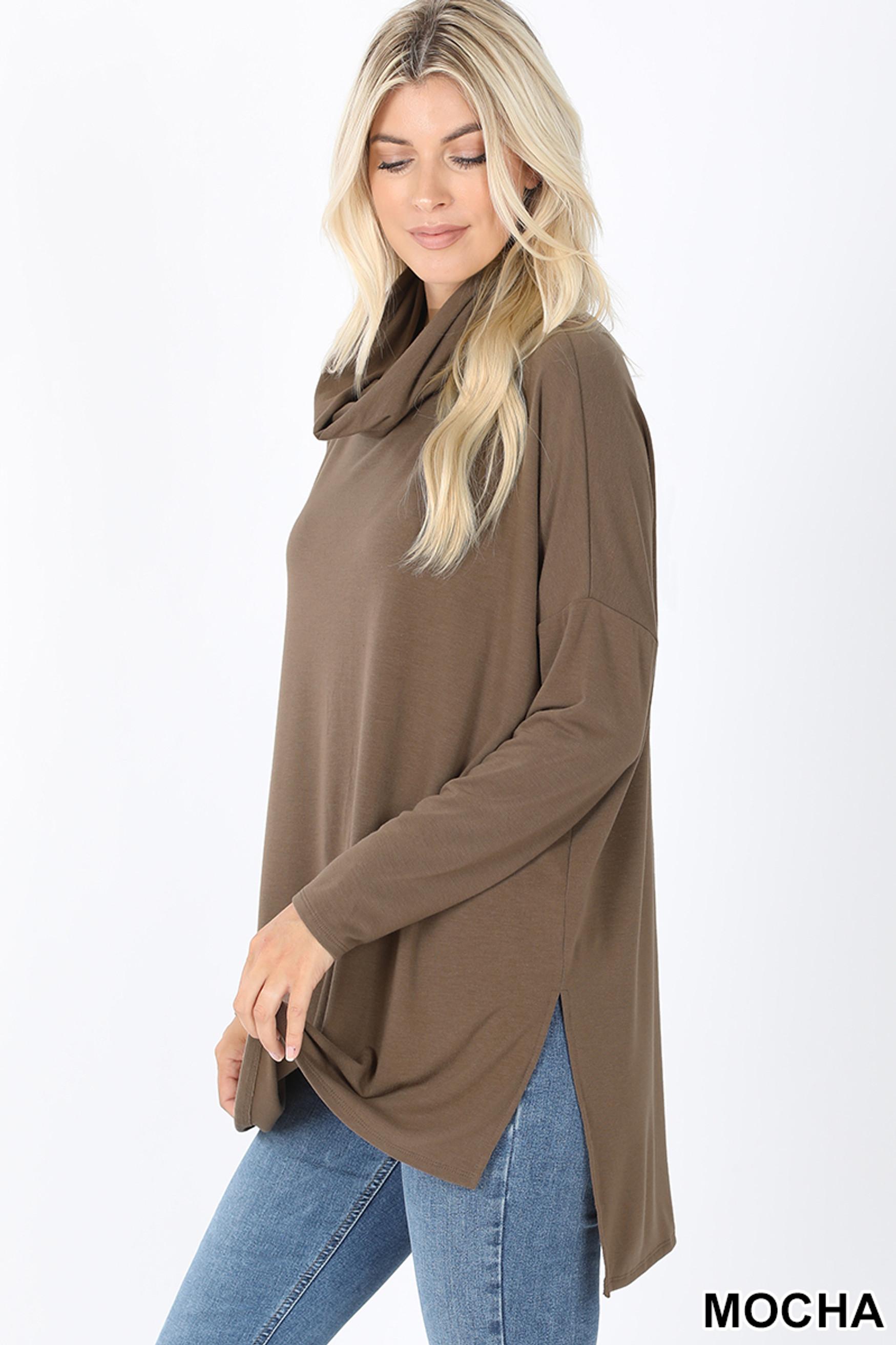 Left side image of Mocha Cowl Neck Hi-Low Long Sleeve Plus Size Top