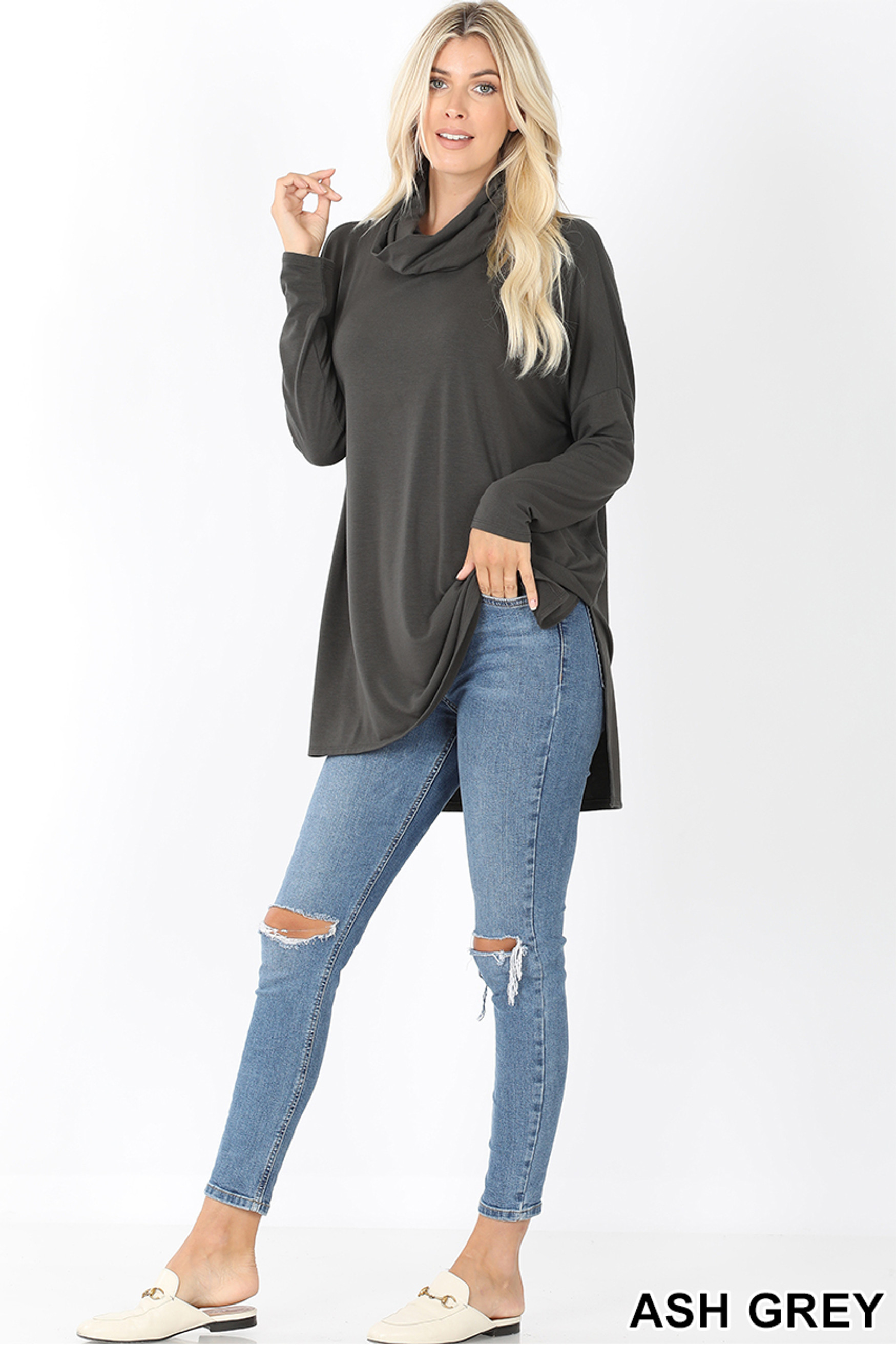 Full body front image of Ash Grey Cowl Neck Hi-Low Long Sleeve Plus Size Top