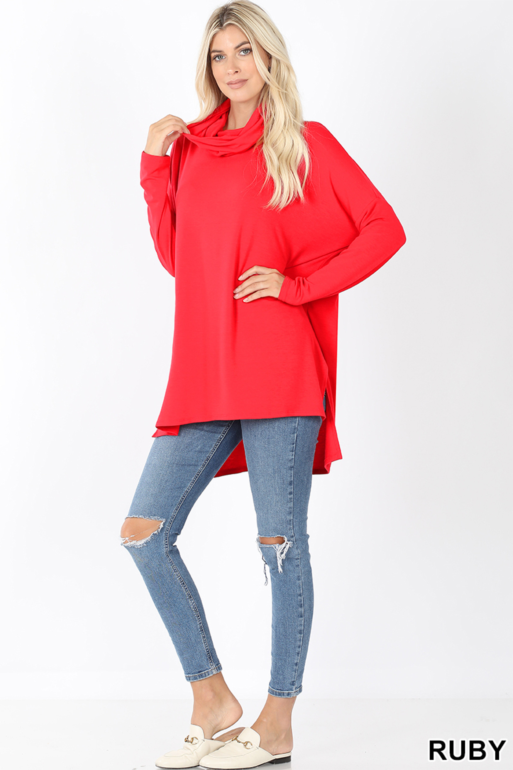 Full body front image of Ruby Cowl Neck Hi-Low Long Sleeve Plus Size Top