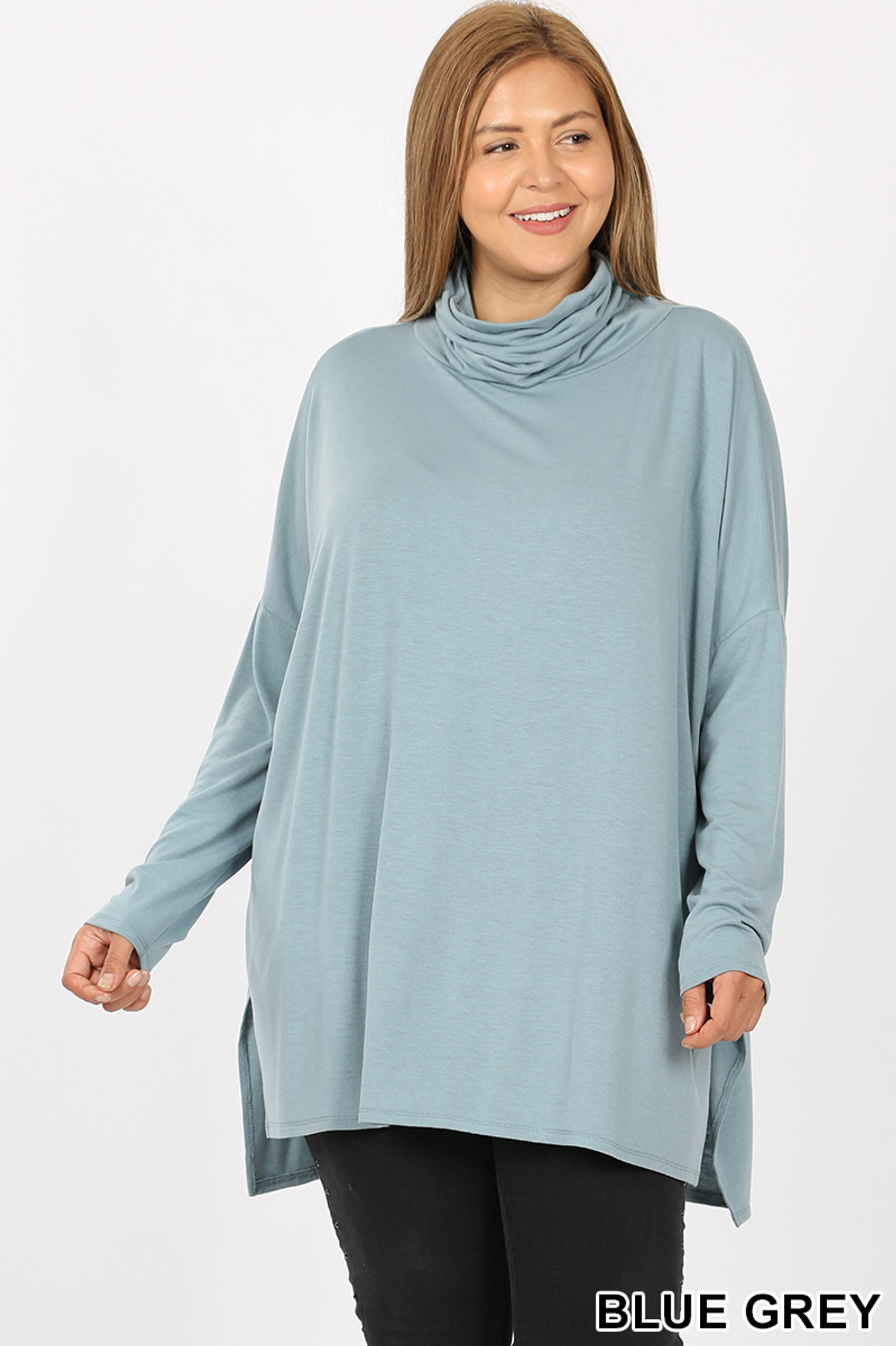 Front image of Blue Grey Rayon Cowl Neck Dolman Sleeve Plus Size Top