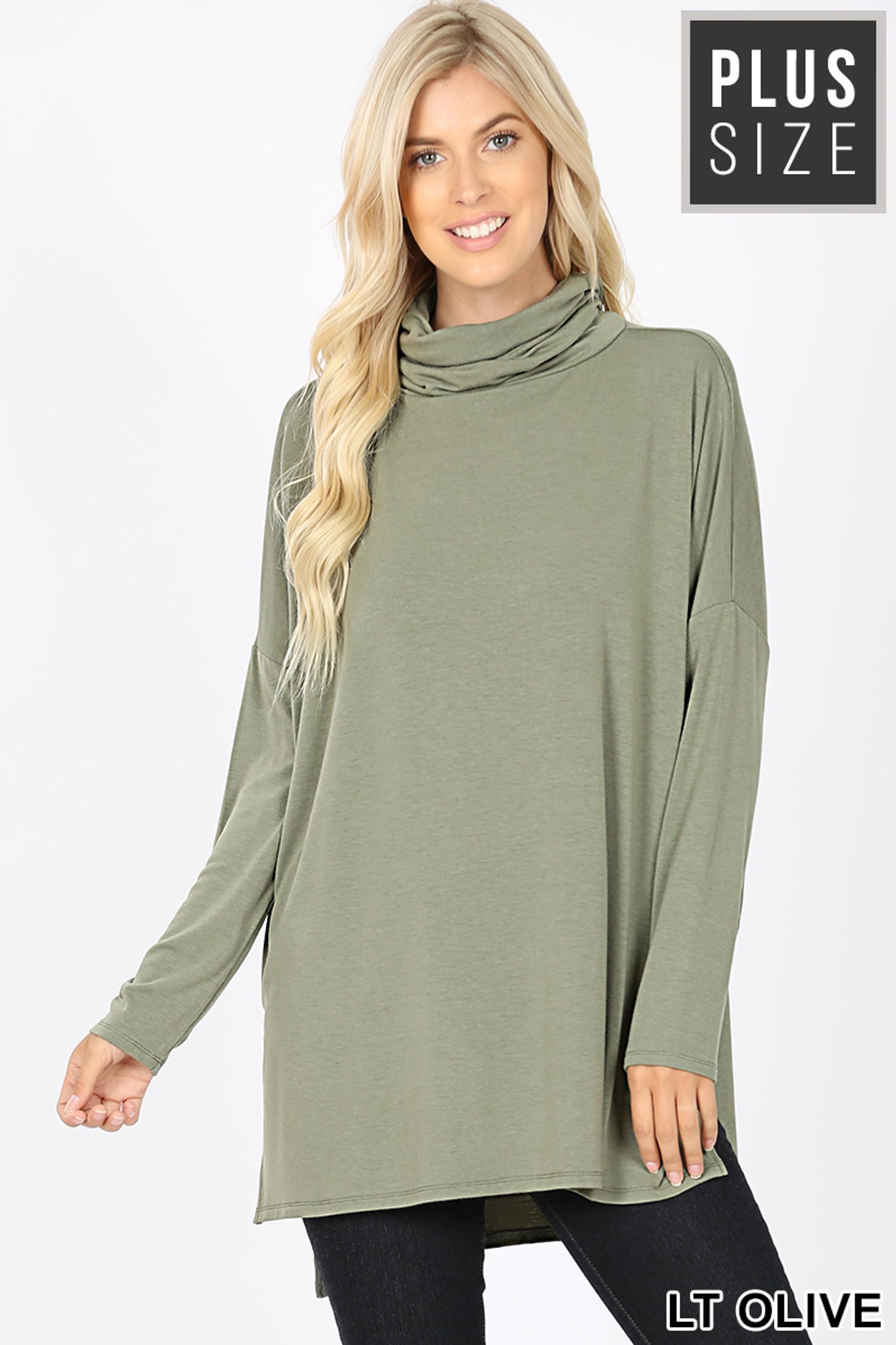 Front image Light Olive Mocha Rayon Cowl Neck Dolman Sleeve Plus Size Top