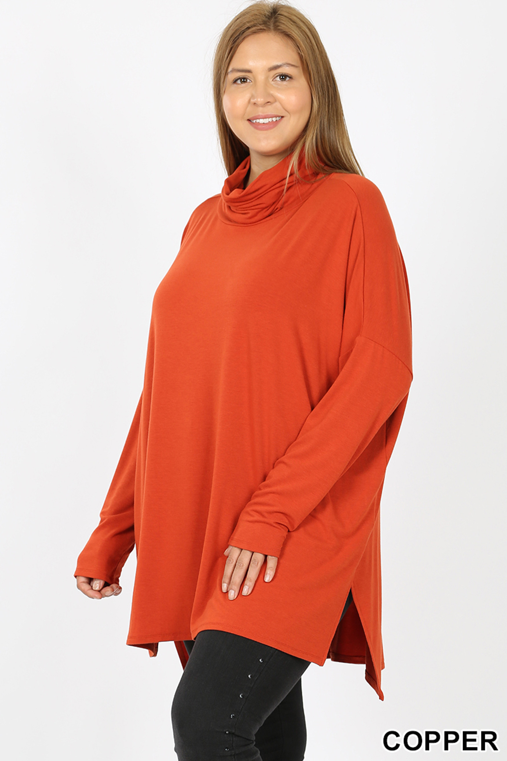 45 degree image of Copper Rayon Cowl Neck Dolman Sleeve Plus Size Top