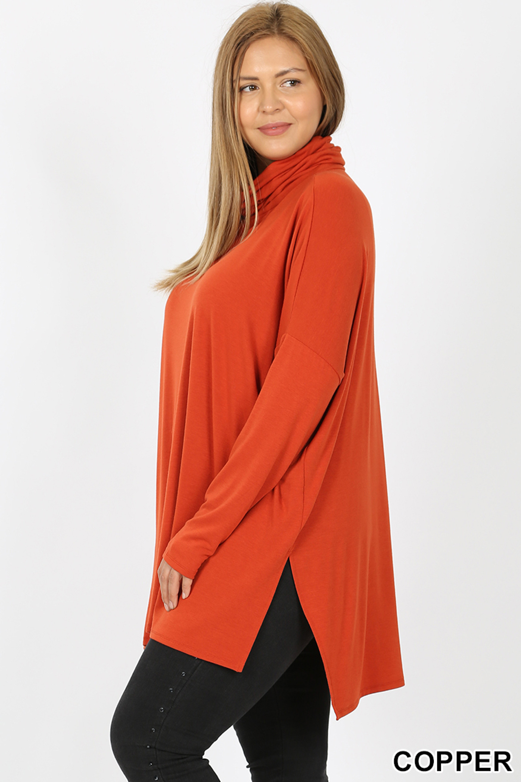 Left side image of Copper Rayon Cowl Neck Dolman Sleeve Plus Size Top
