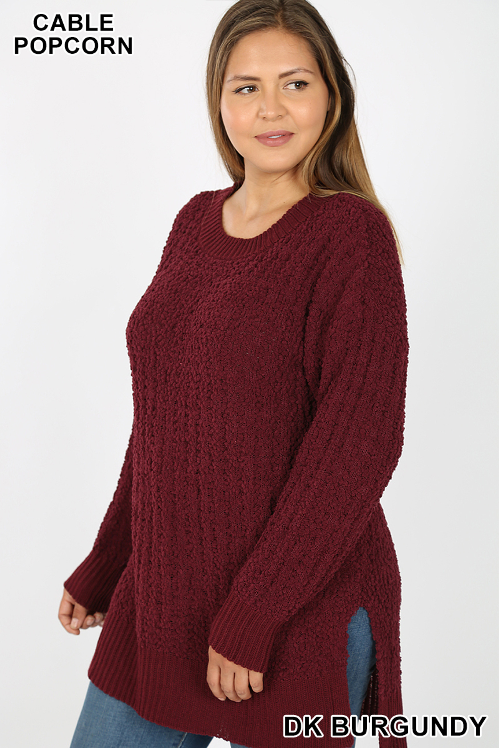 Left side image of Dark Burgundy Front image of Eggplant Cable Knit Popcorn Round Neck Hi-Low Plus Size Sweater