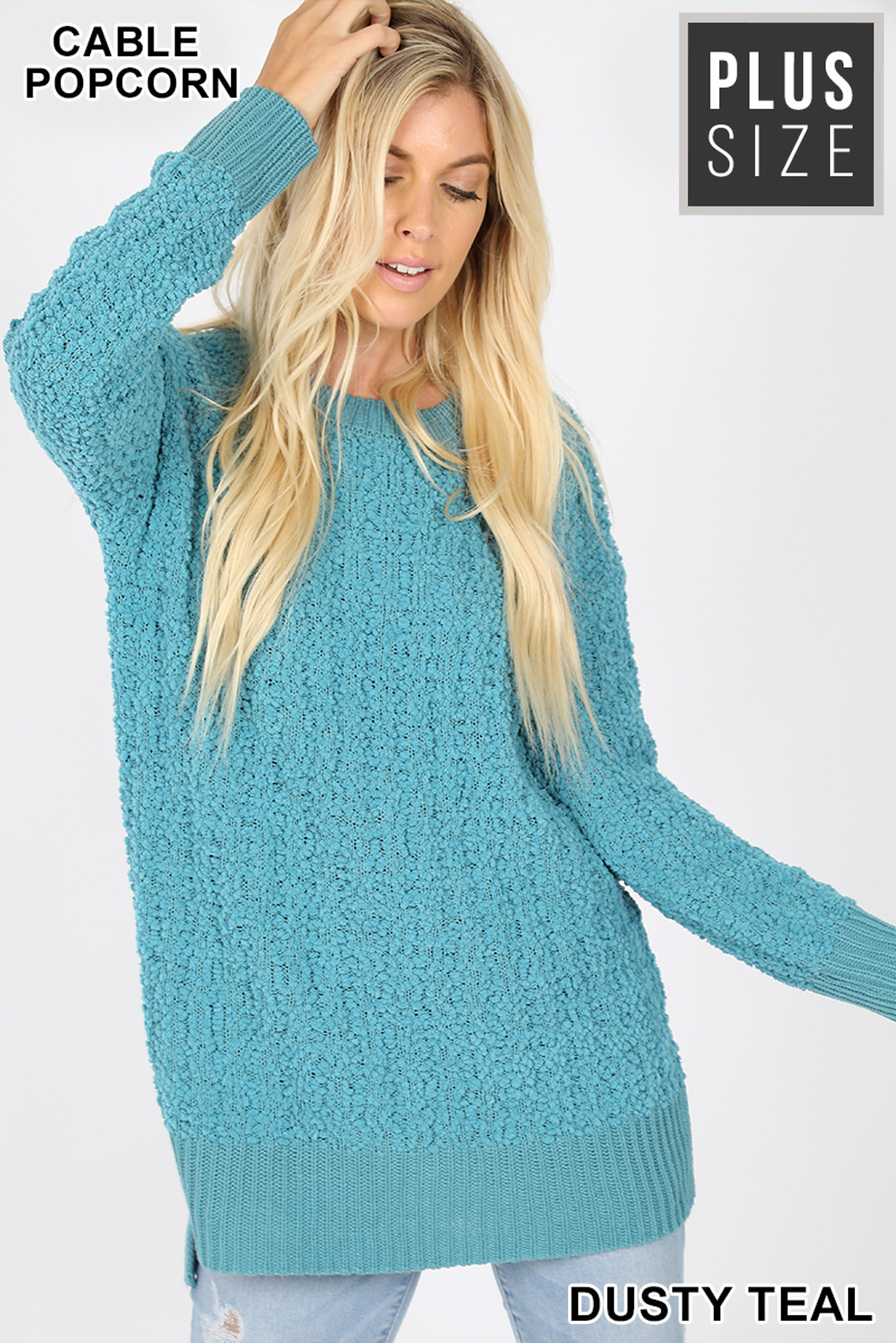 Front image of Dusty Teal Cable Knit Popcorn Round Neck Hi-Low Plus Size Sweater