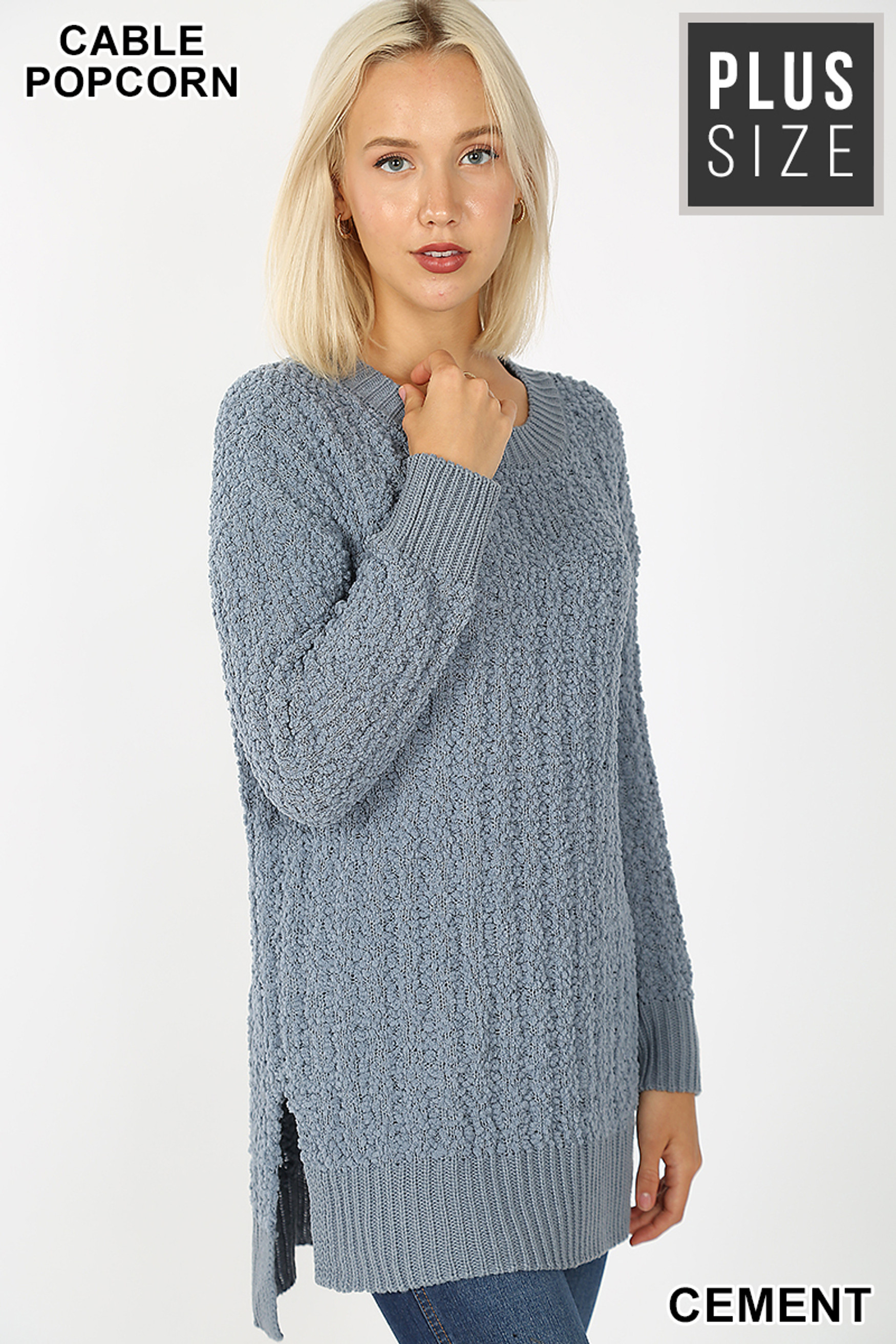 Front image of Cement Cable Knit Popcorn Round Neck Hi-Low Plus Size Sweater