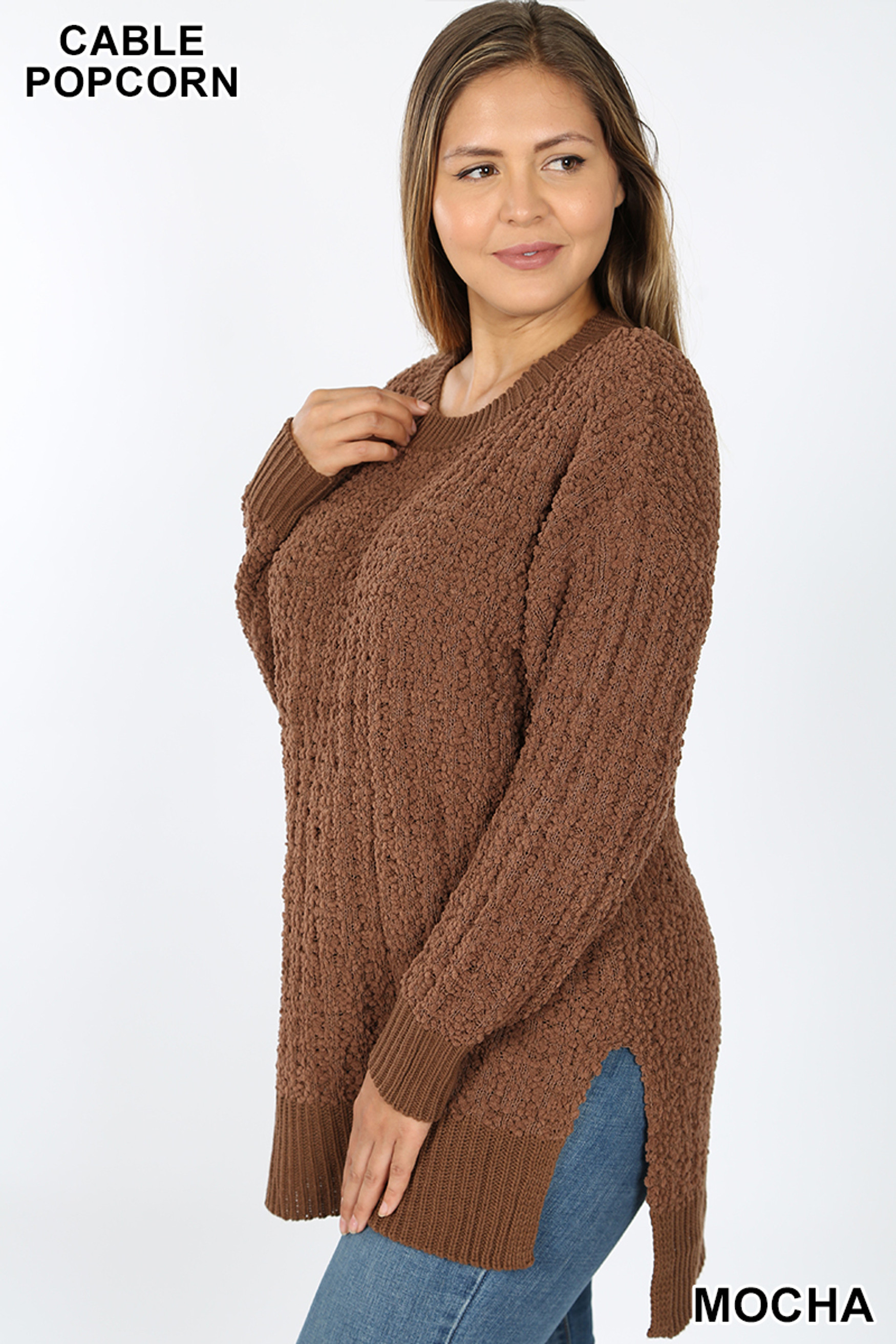 Left side image of Mocha Cable Knit Popcorn Round Neck Hi-Low Plus Size Sweater