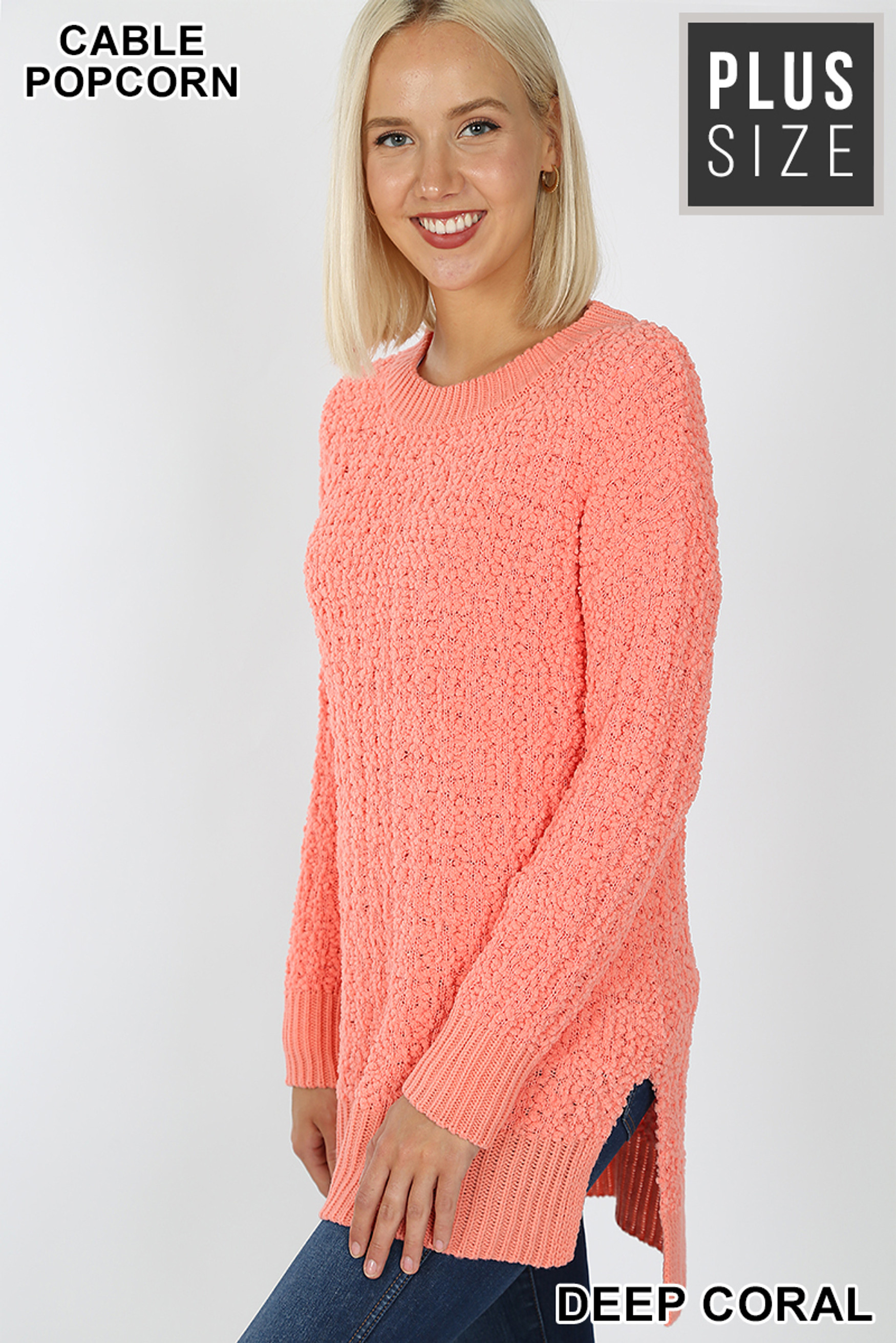 Left side image of Deep Coral Cable Knit Popcorn Round Neck Hi-Low Plus Size Sweater