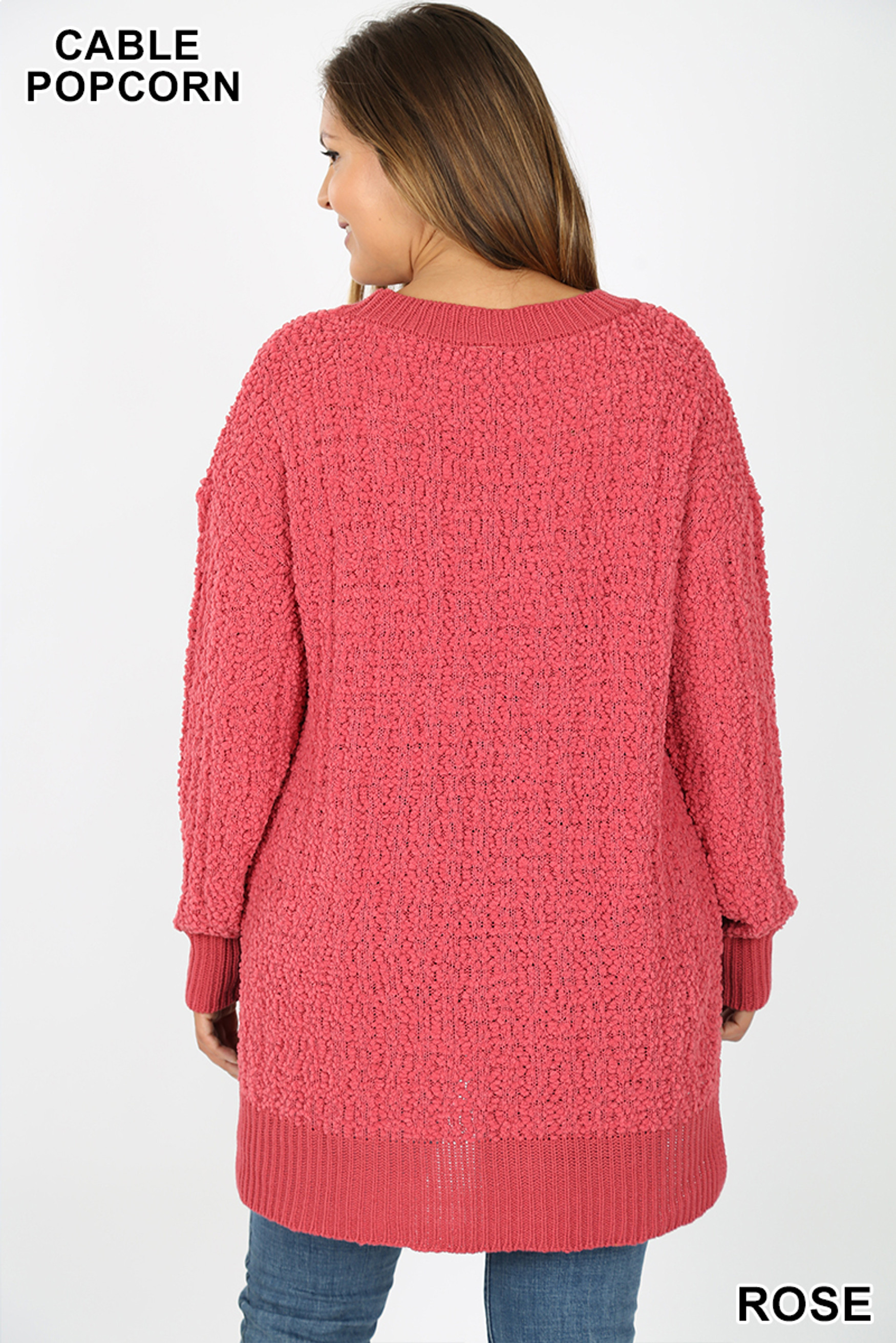 Back side image of Rose Cable Knit Popcorn V-Neck Hi-Low Plus Size Sweater