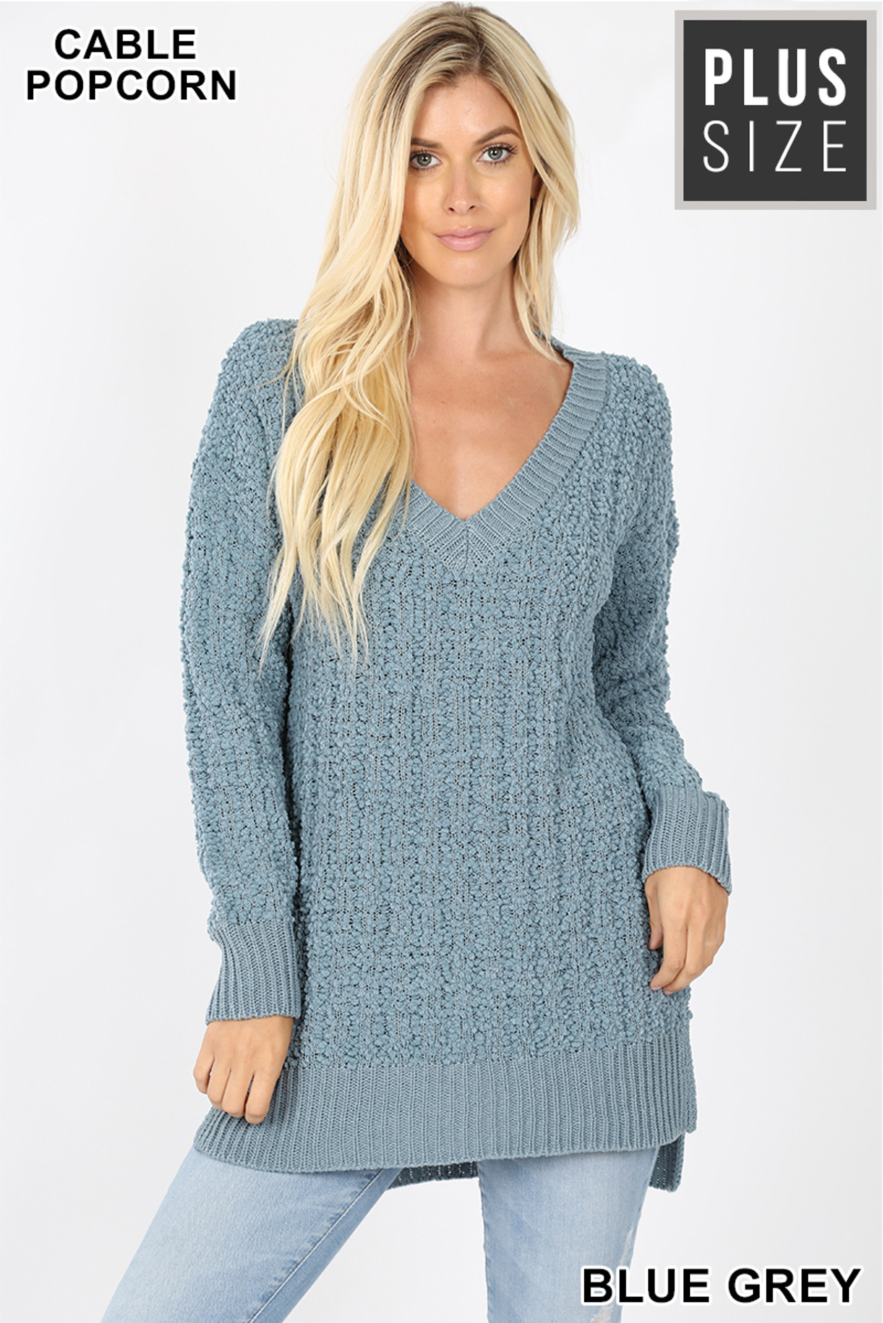Front image of Blue Grey Cable Knit Popcorn V-Neck Hi-Low Plus Size Sweater