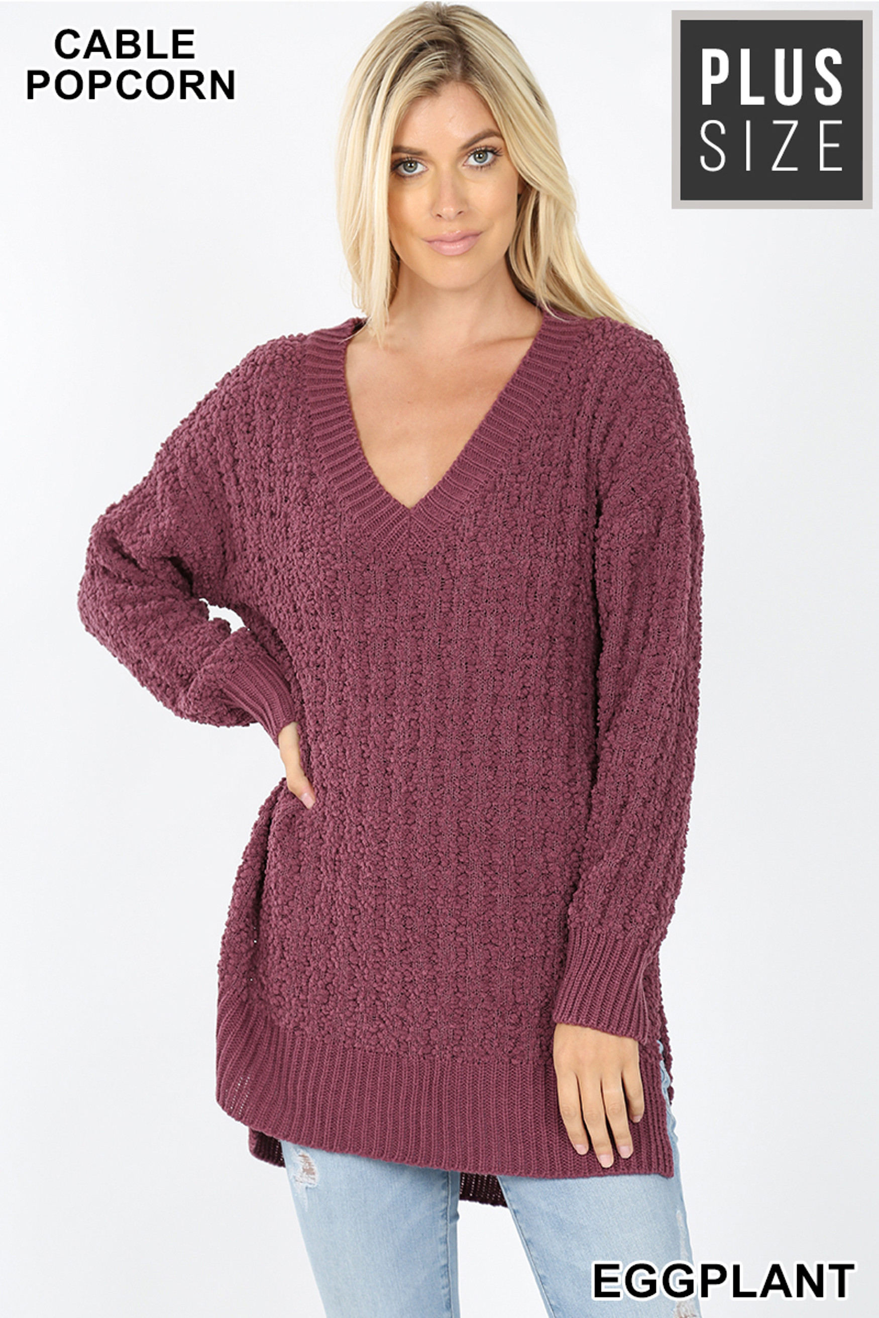Front image of Eggplant Cable Knit Popcorn V-Neck Hi-Low Plus Size Sweater