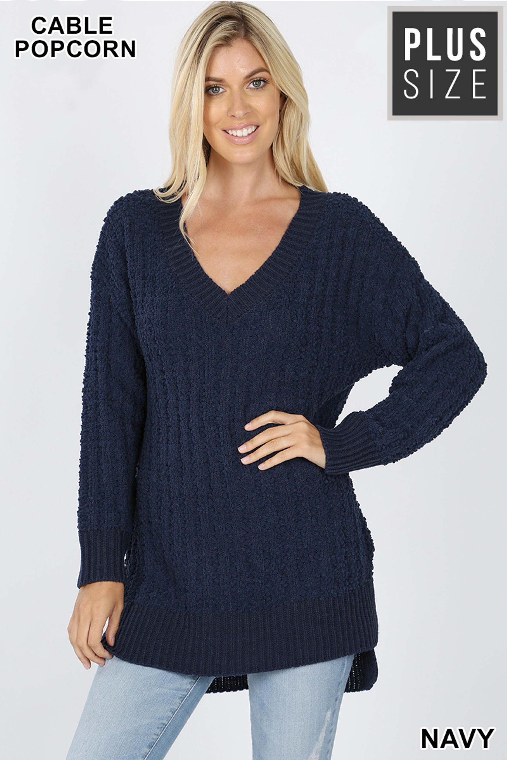 Front image of Navy Cable Knit Popcorn V-Neck Hi-Low Plus Size Sweater