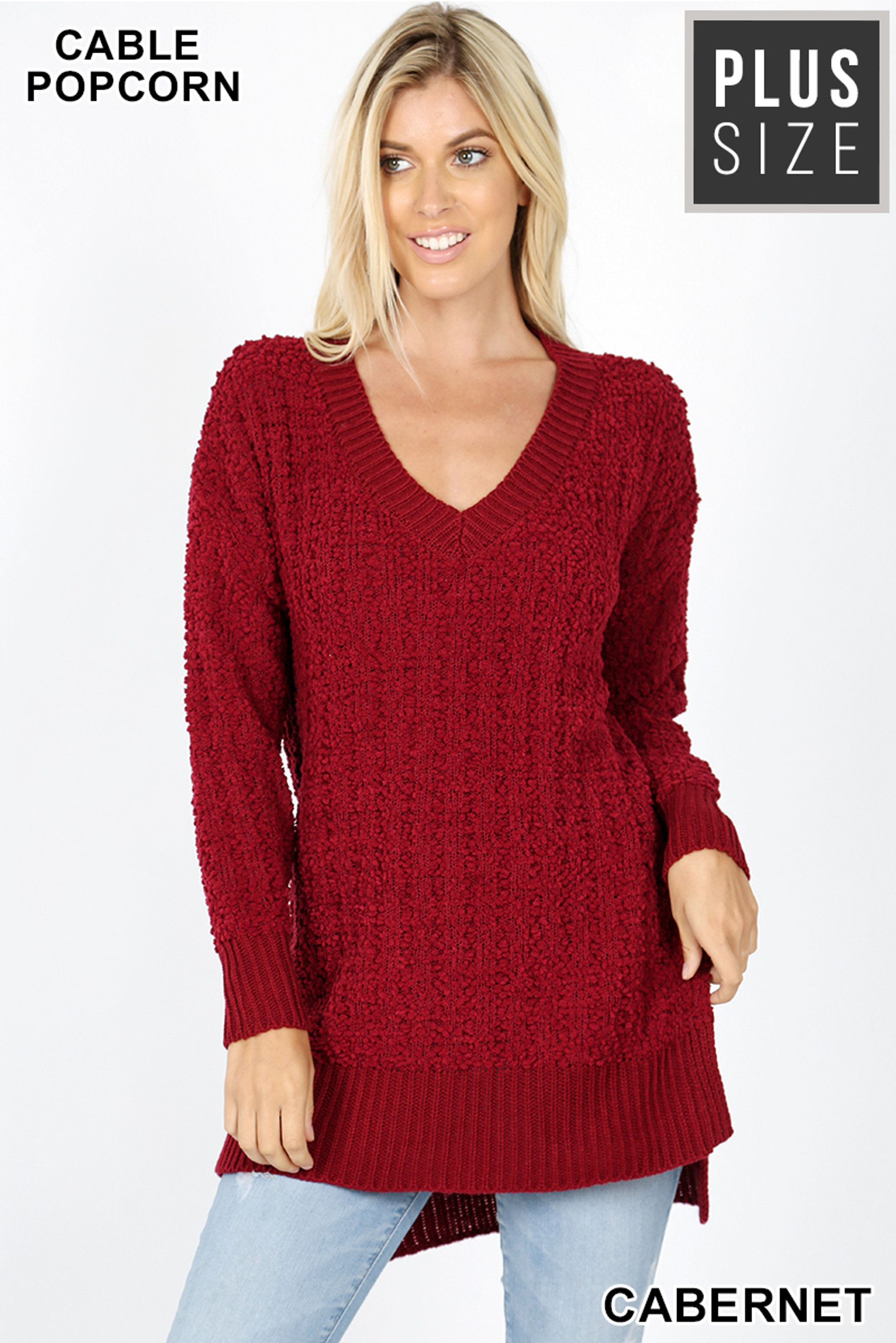 Front image of Cabernet Cable Knit Popcorn V-Neck Hi-Low Plus Size Sweater