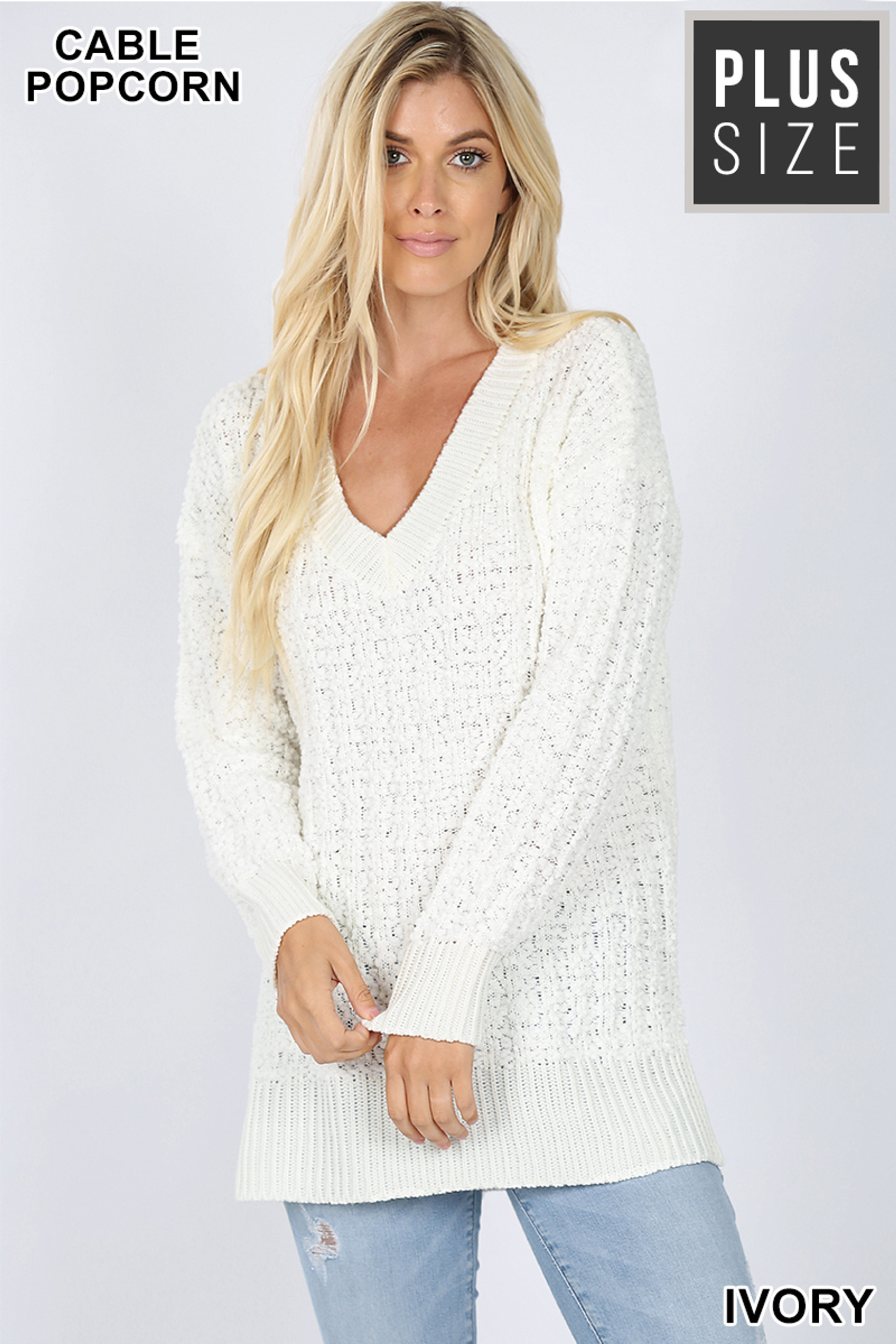 Front image of Ivory Cable Knit Popcorn V-Neck Hi-Low Plus Size Sweater