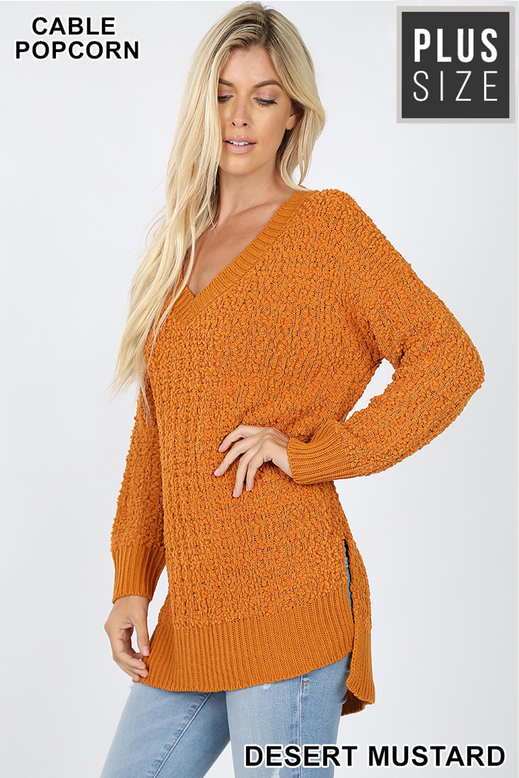 45 degree image of Desert Mustard Cable Knit Popcorn V-Neck Hi-Low Plus Size Sweater