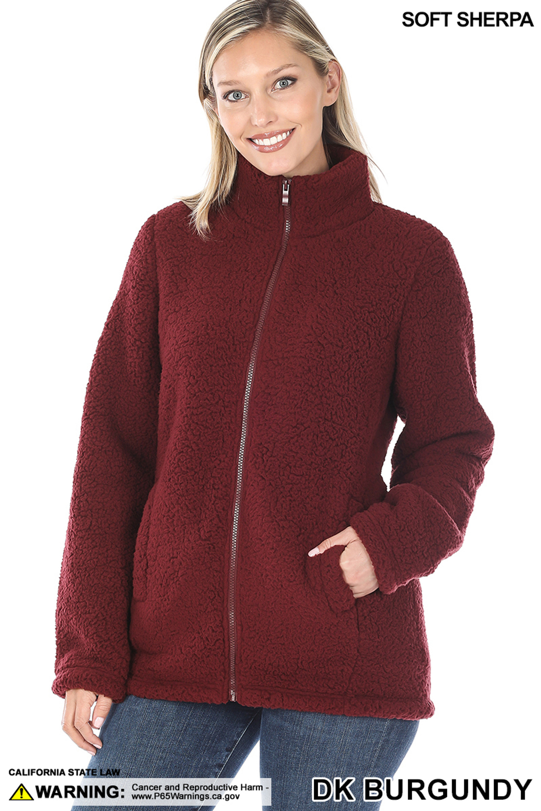 Front of Dark Burgundy Sherpa Zip Up Jacket with Side Pockets