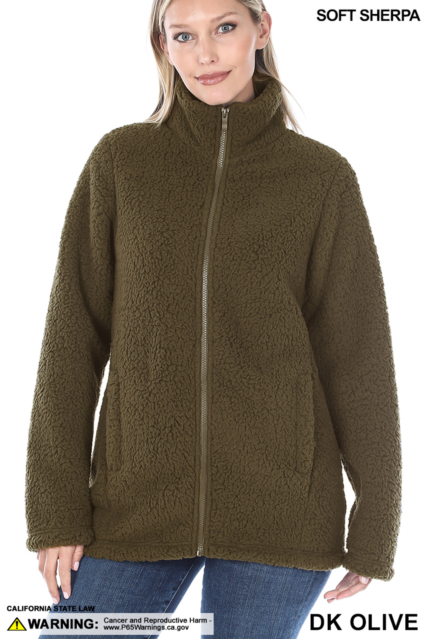 Front of Dark Olive Sherpa Zip Up Jacket with Side Pockets