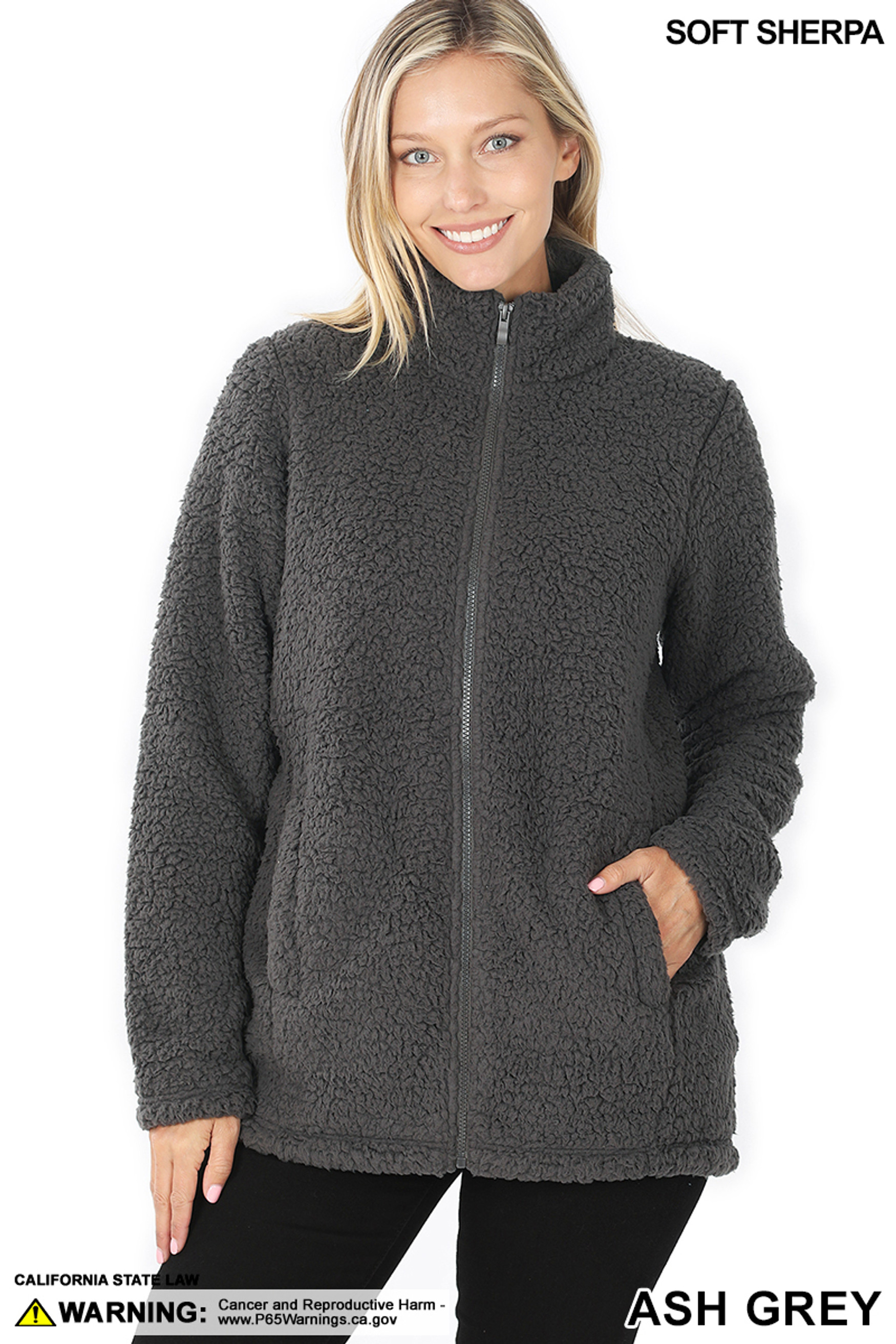 Front of Ash Grey Sherpa Zip Up Jacket with Side Pockets