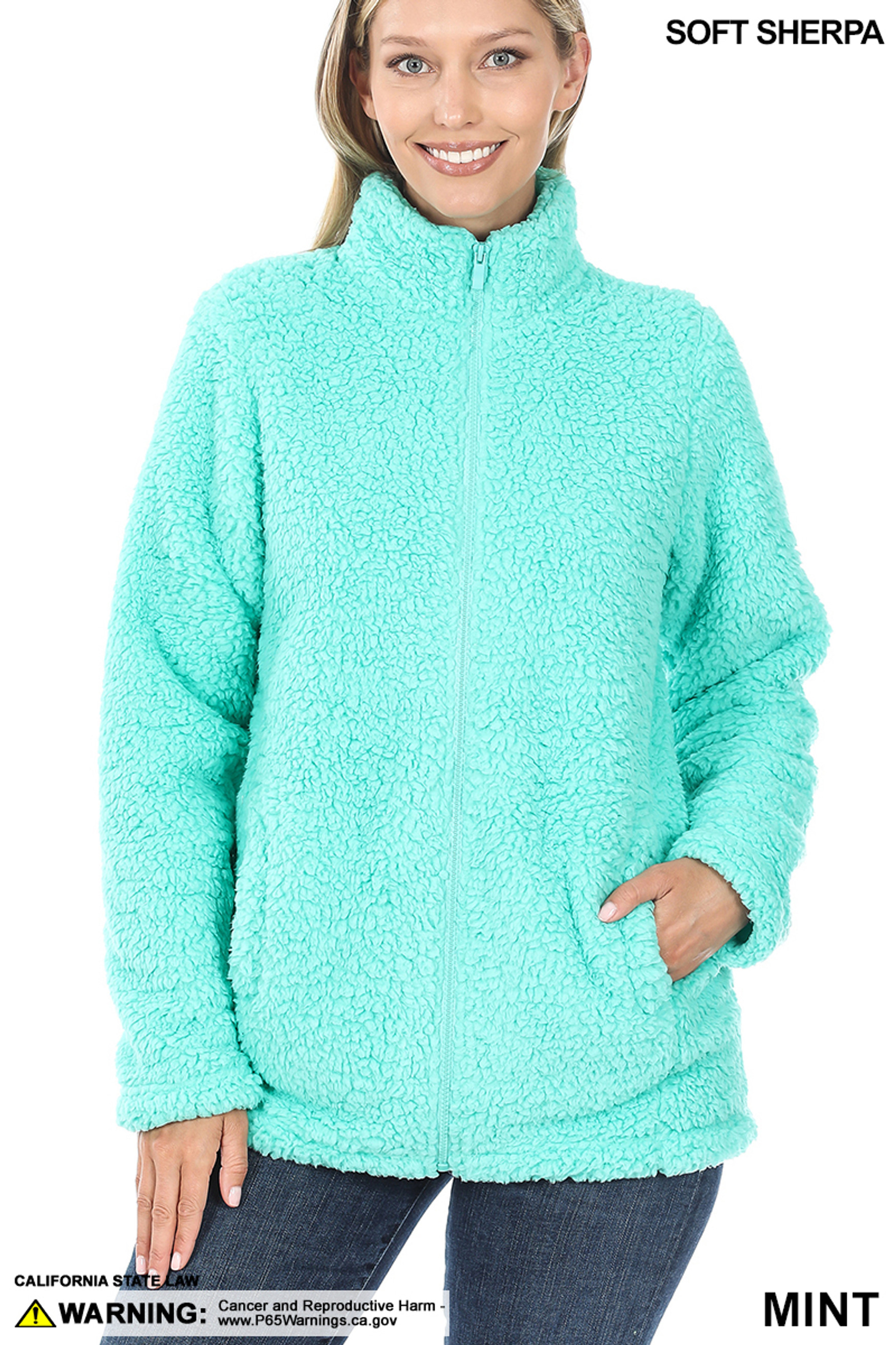 Front of Mint Sherpa Zip Up Jacket with Side Pockets