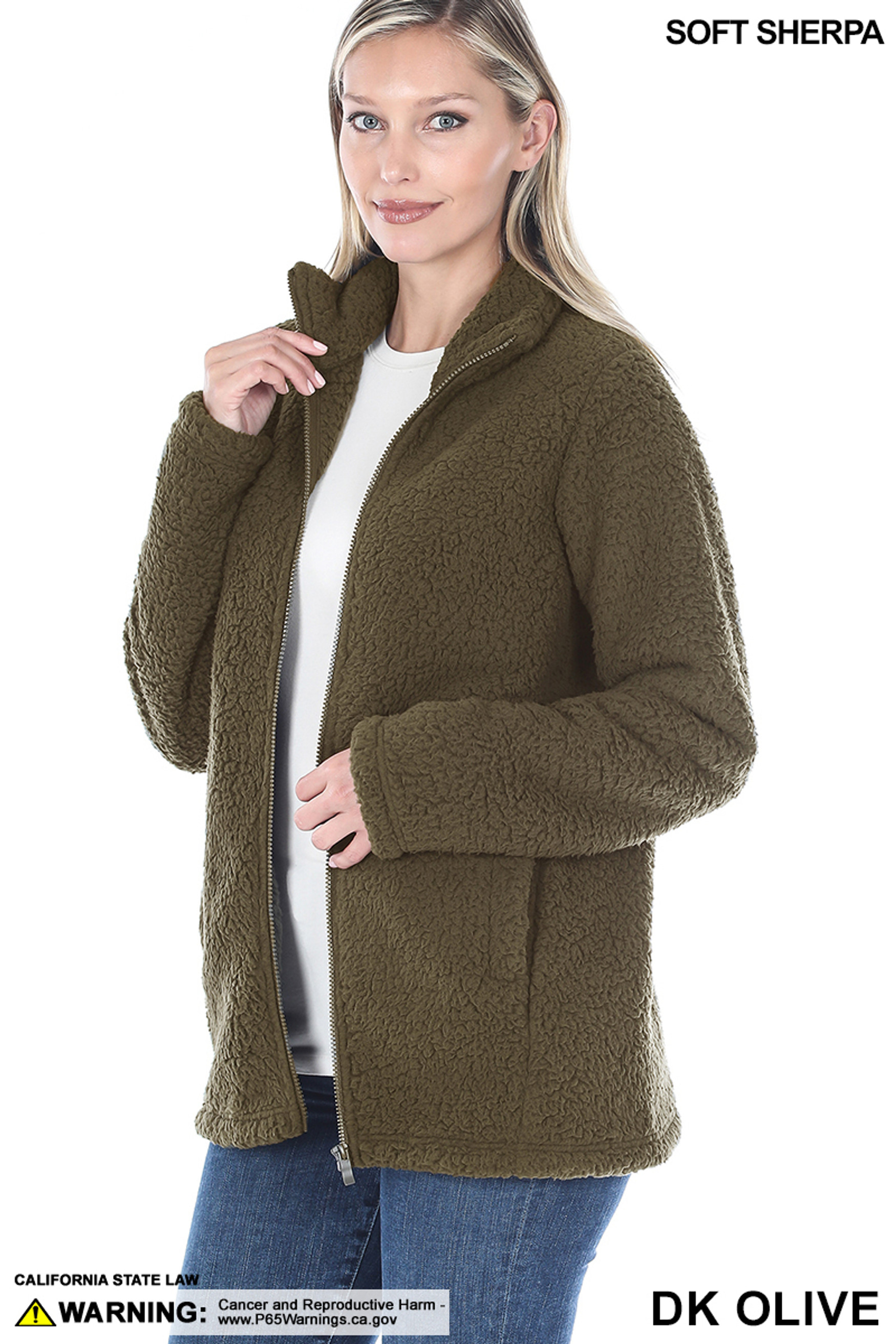 45 degree Unzipped image of Dark Olive Sherpa Zip Up Jacket with Side Pockets