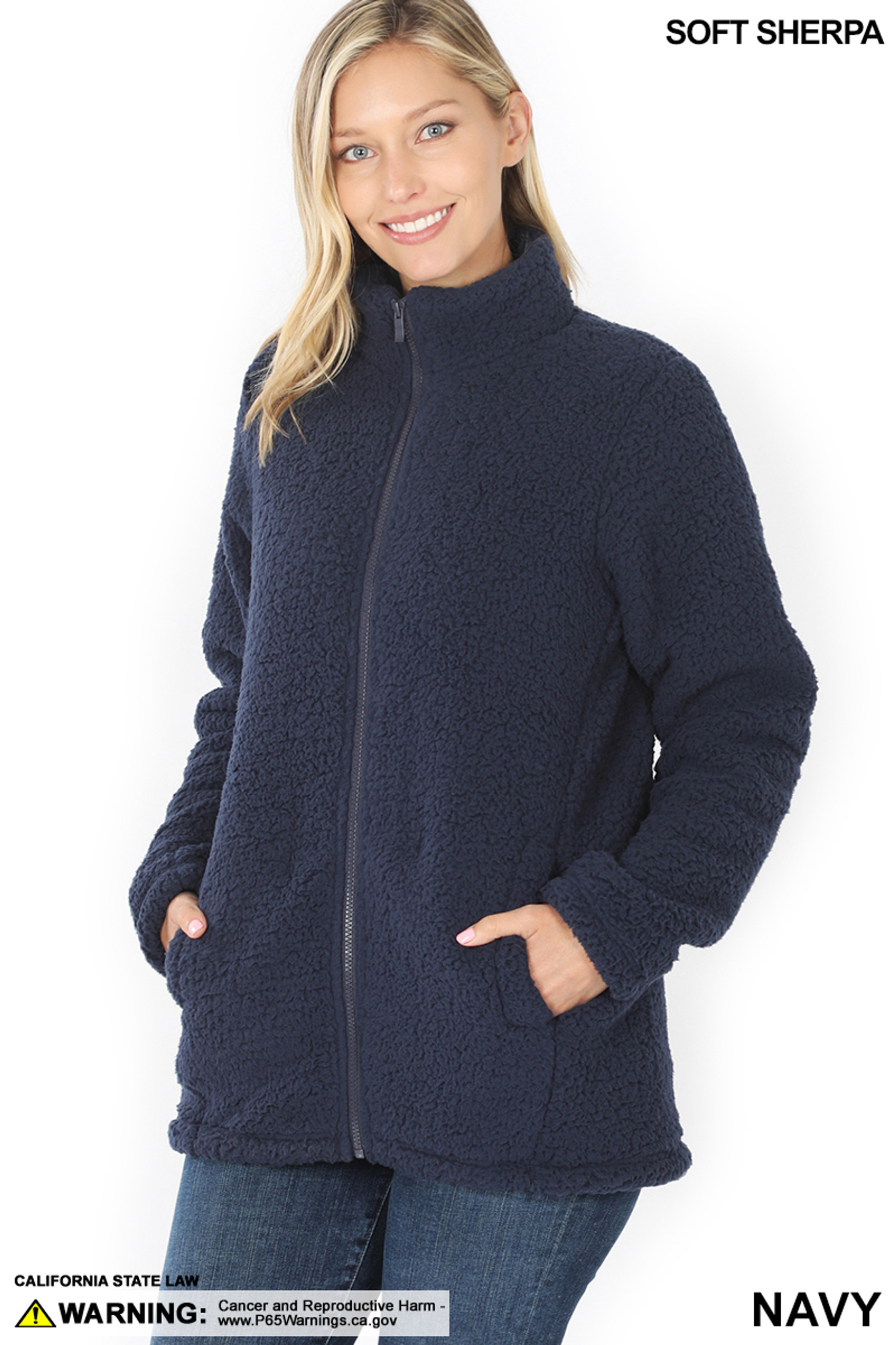 45 degree image of Navy Sherpa Zip Up Jacket with Side Pockets