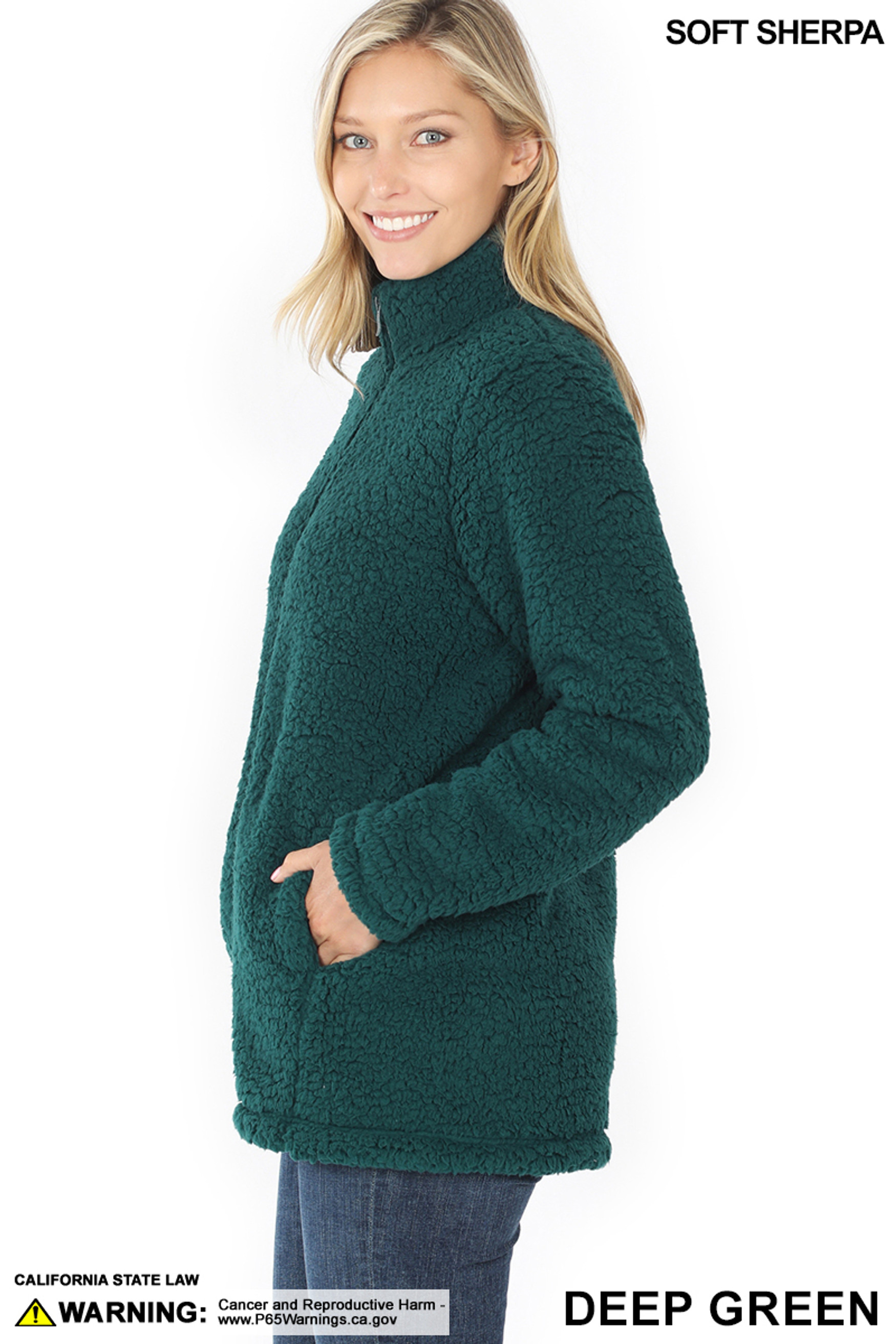 Left side image of Deep Green Sherpa Zip Up Jacket with Side Pockets