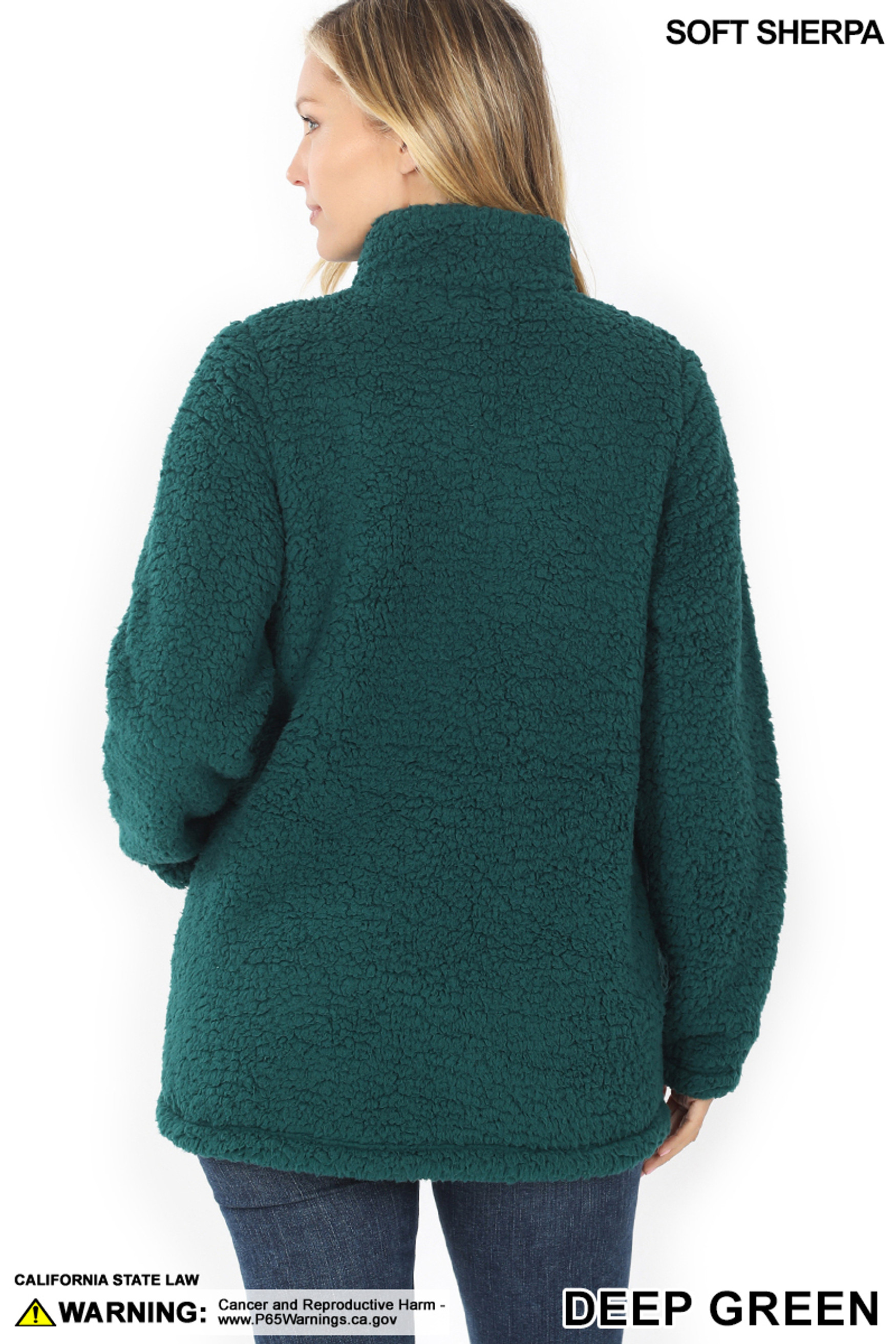 Back side image of of Deep Green Sherpa Zip Up Jacket with Side Pockets