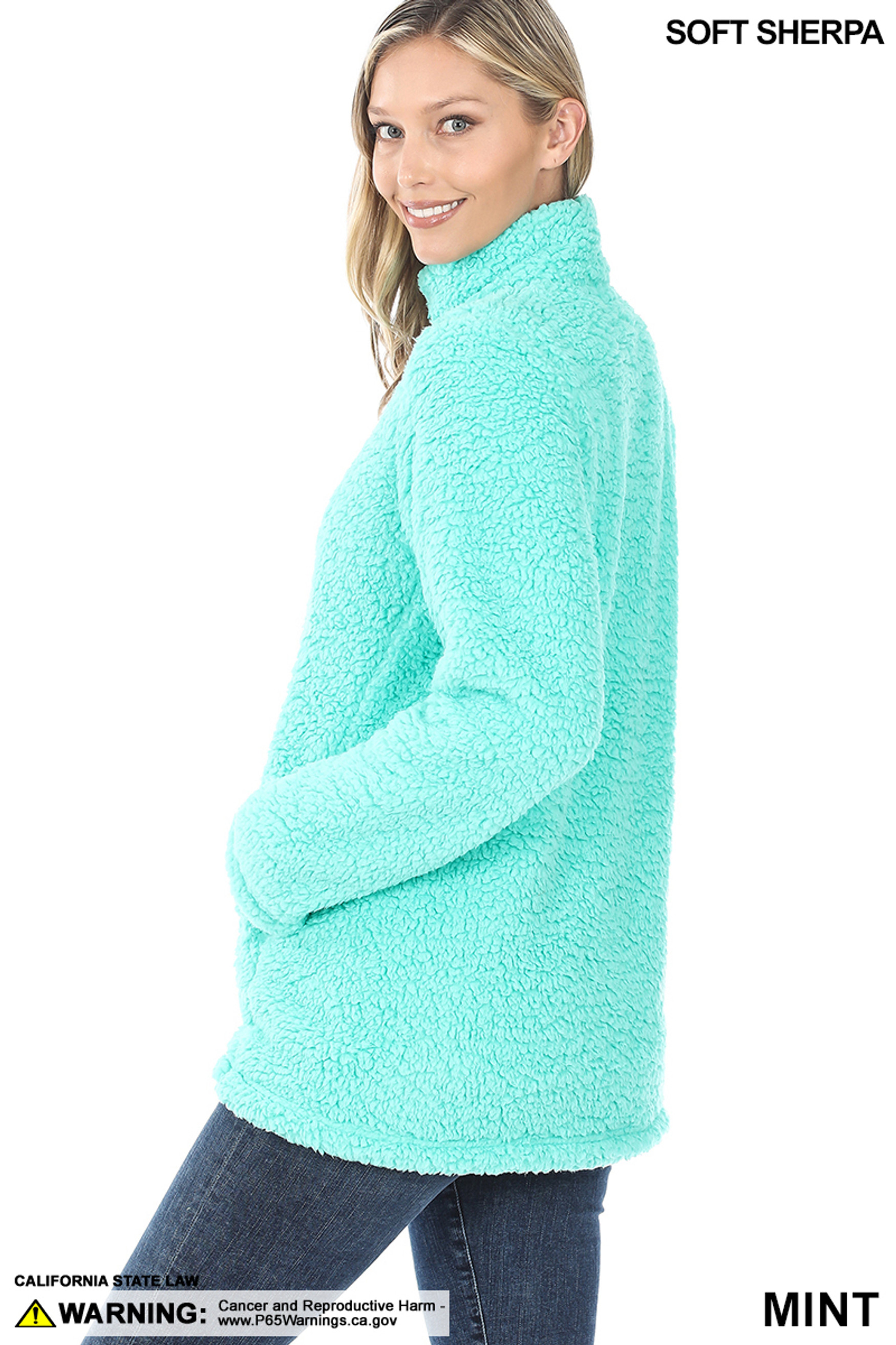 Left side image of Mint Sherpa Zip Up Jacket with Side Pockets