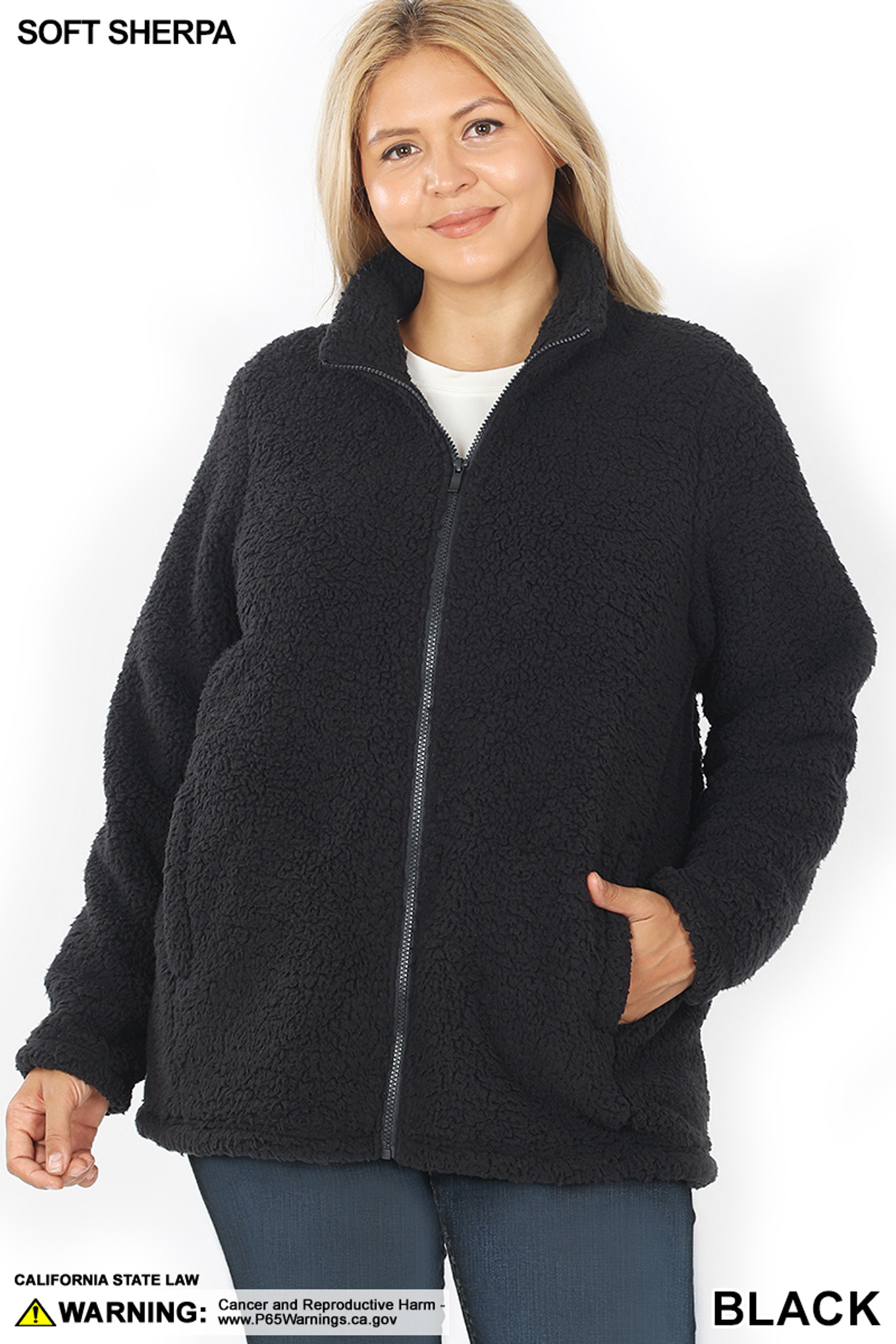 Front image of Black Sherpa Zip Up Plus Size Jacket with Side Pockets