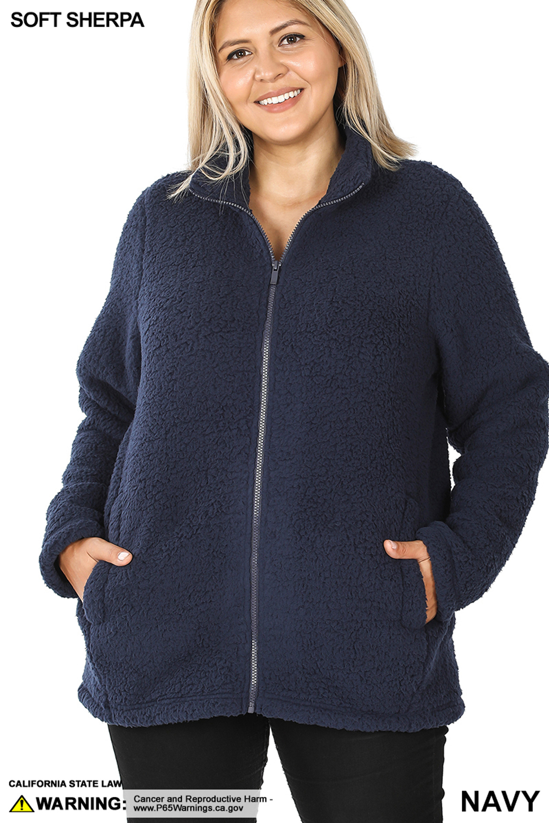 Front image of Navy Sherpa Zip Up Plus Size Jacket with Side Pockets