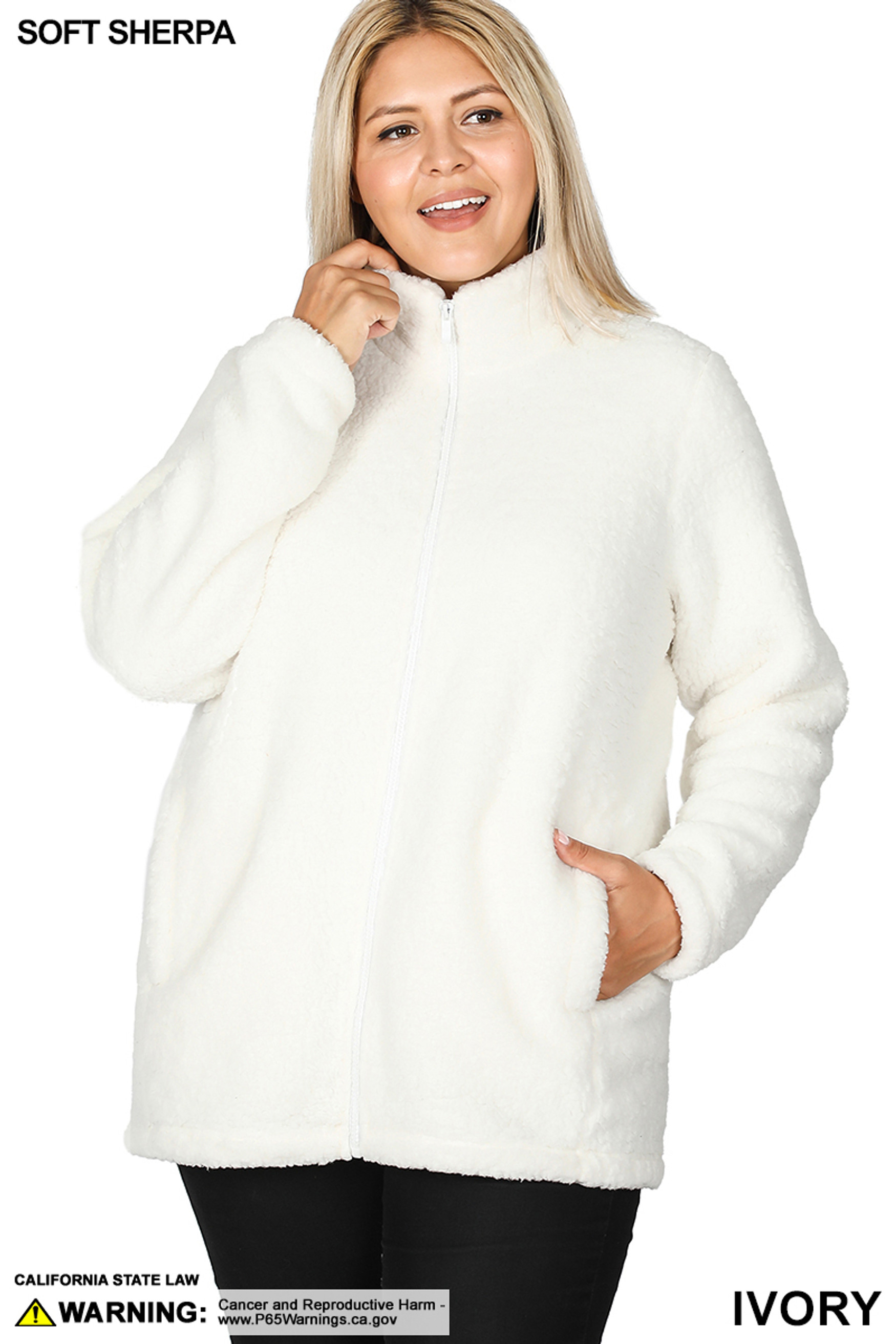 Front image of Ivory Sherpa Zip Up Plus Size Jacket with Side Pockets