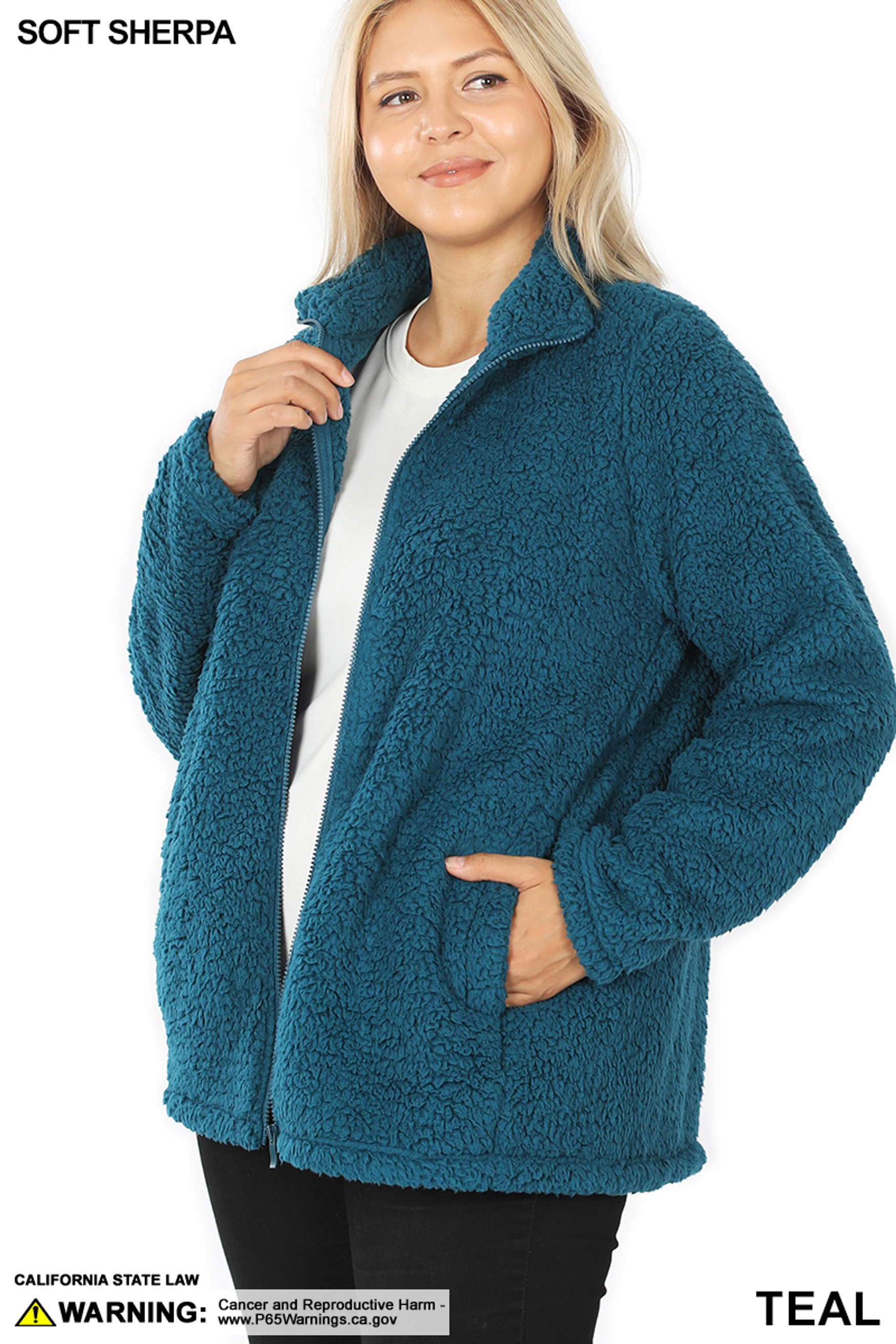 45 degree unzipped image of Teal Sherpa Zip Up Plus Size Jacket with Side Pockets