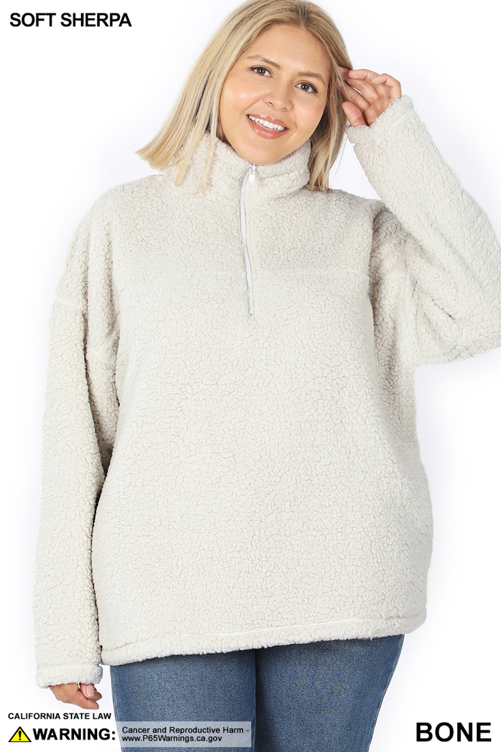 Front of Bone Sherpa Half Zip Plus Size Pullover with Side Pockets