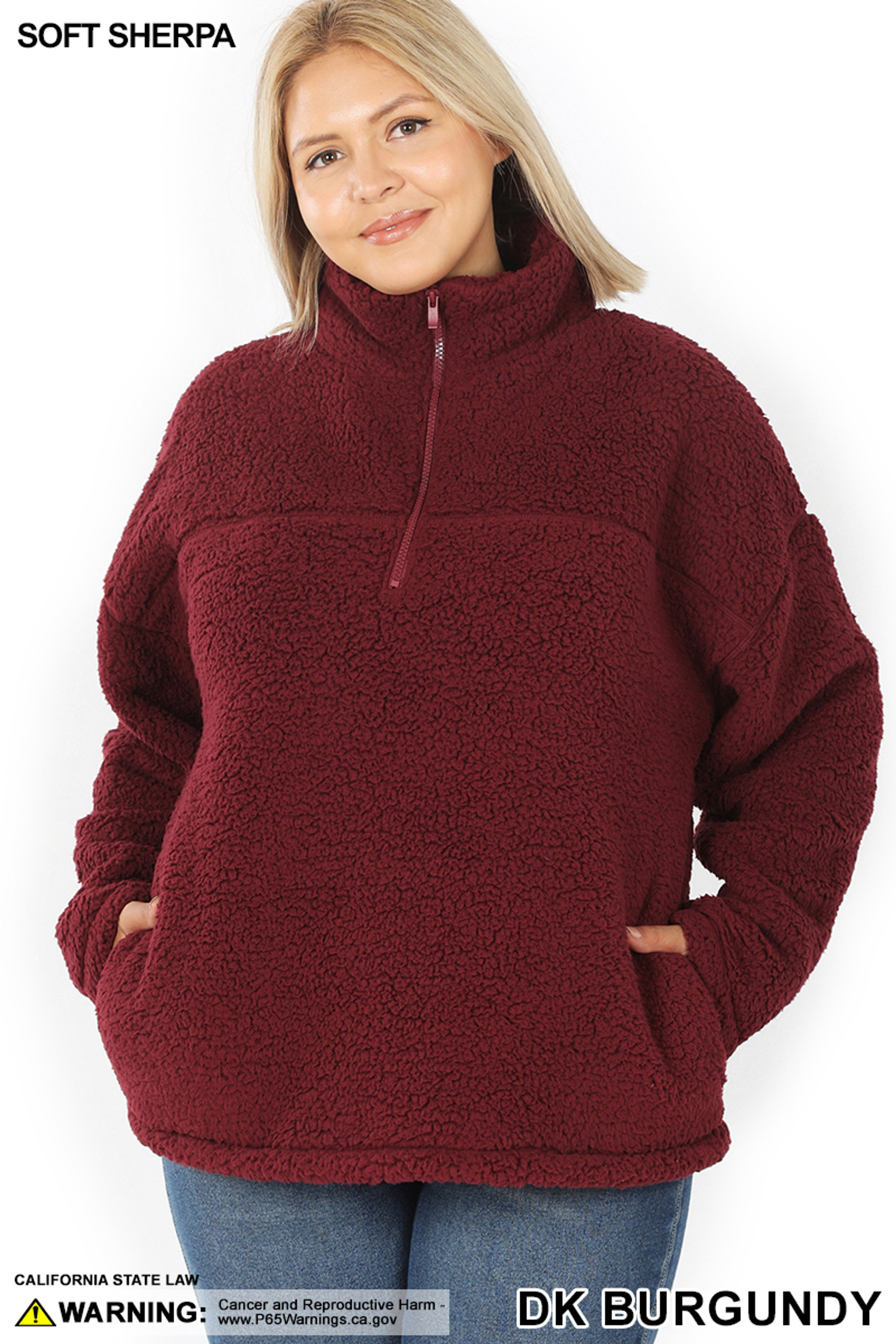 Front of Dark Burgundy Sherpa Half Zip Plus Size Pullover with Side Pockets