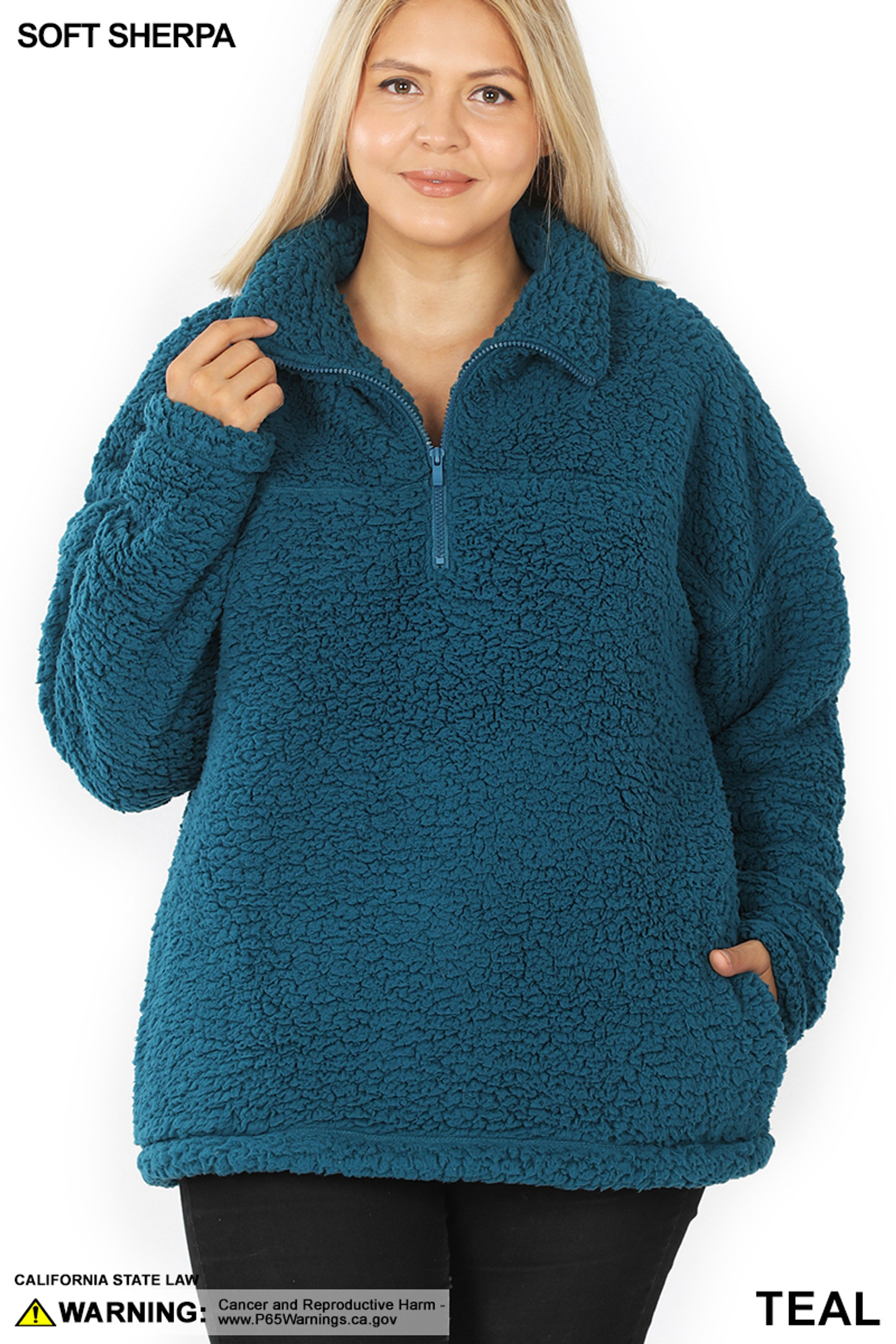 Front of Dark Teal Sherpa Half Zip Plus Size Pullover with Side Pockets