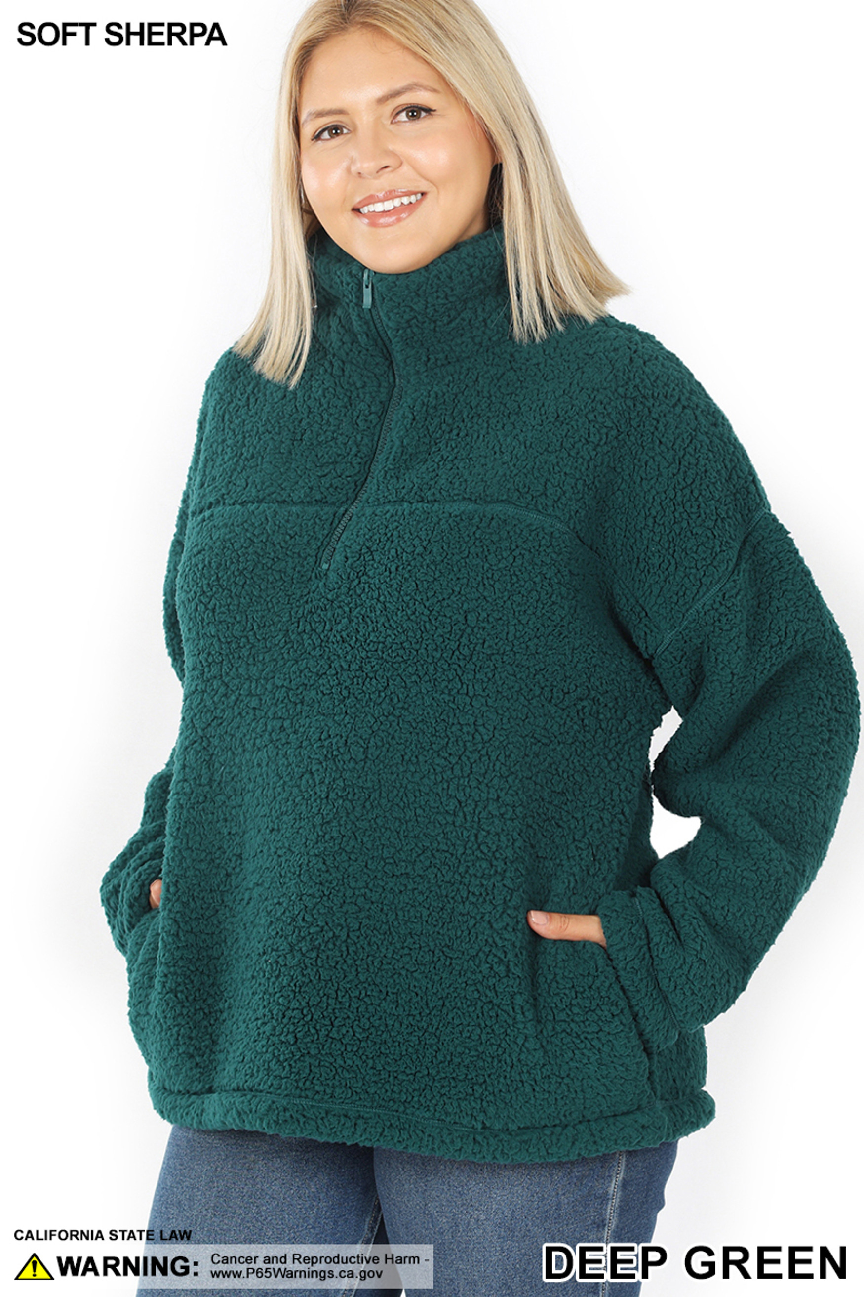 45 degree image of Deep Green Sherpa Half Zip Plus Size Pullover with Side Pockets