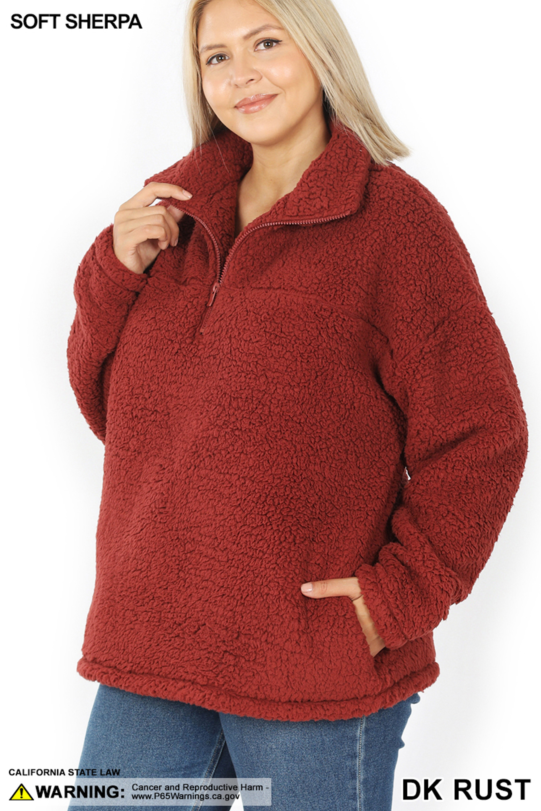 45 degree image of Dark Rust Sherpa Half Zip Plus Size Pullover with Side Pockets