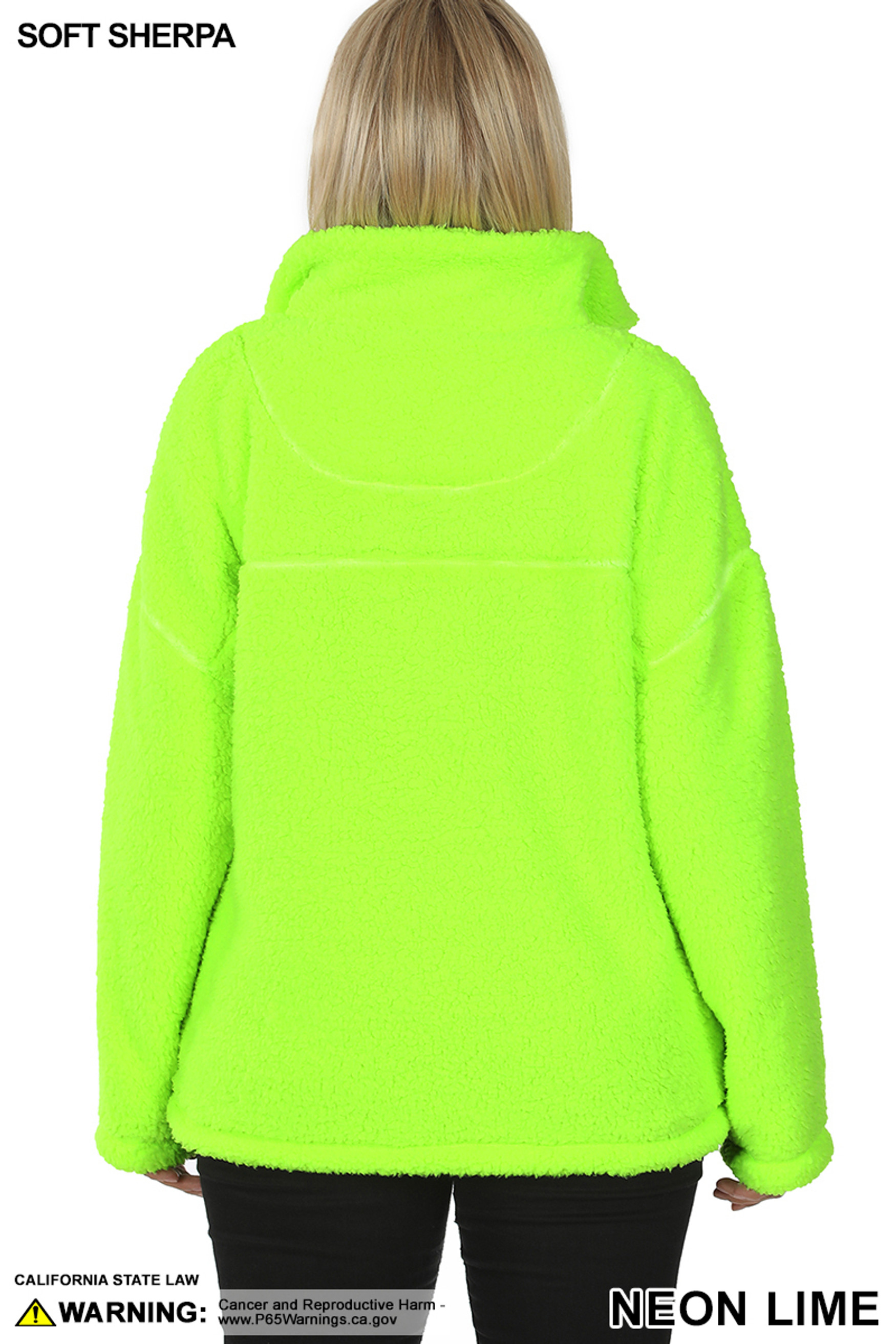 Back side image of Neon Lime Sherpa Half Zip Plus Size Pullover with Side Pockets